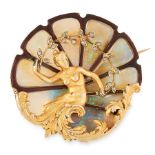 OPAL, DIAMOND AND ENAMEL BROOCH, GEORGES FOUQUET EARLY 20TH CENTURY in 18ct yellow gold, the