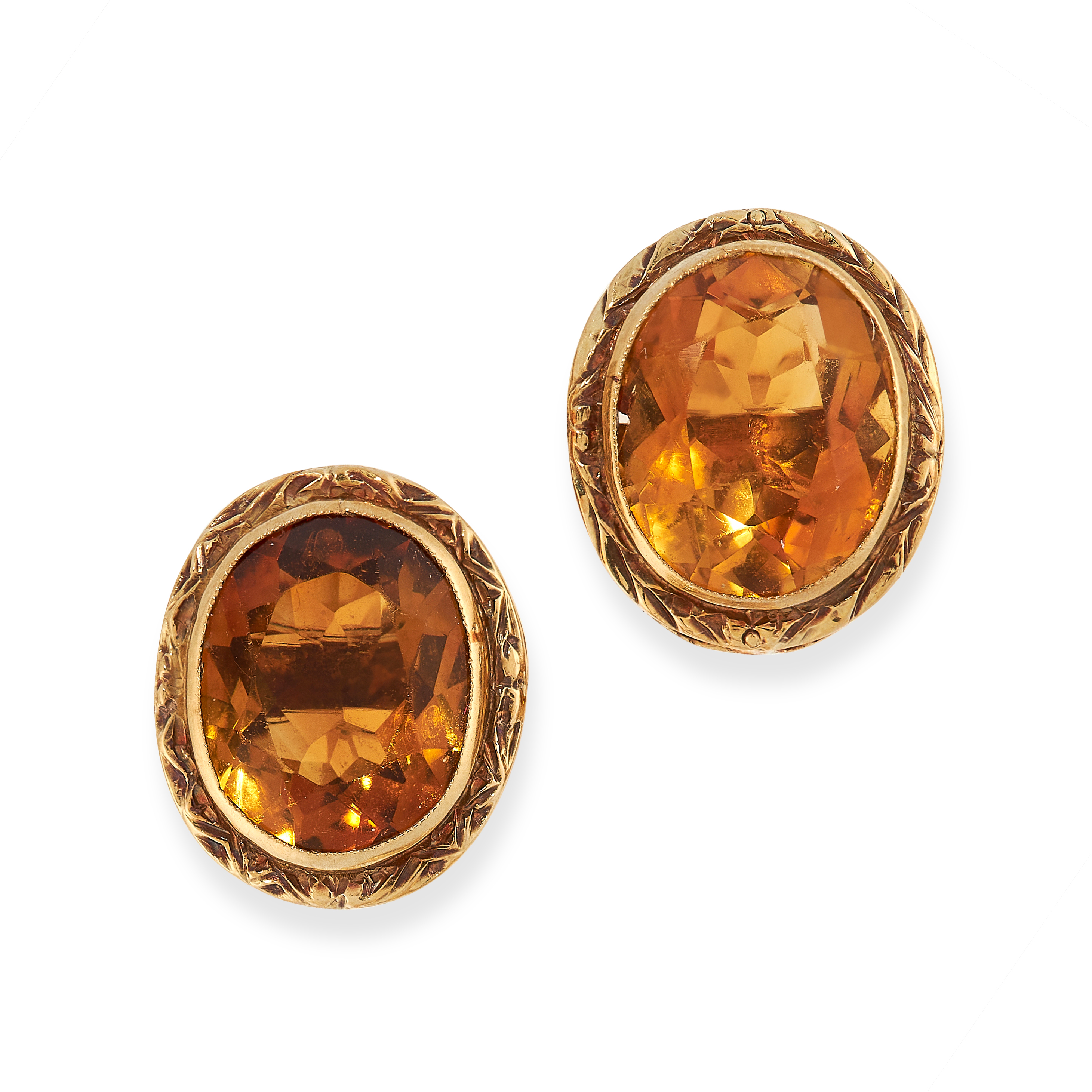 VINTAGE CITRINE EARRINGS AND RING SUITE each set an oval cut citrine within gold border, citrines - Image 2 of 3