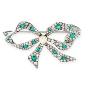 GEMSET AND PEARL BOW BROOCH, 1950s designed as a bow, set with a central pearl, accented by round