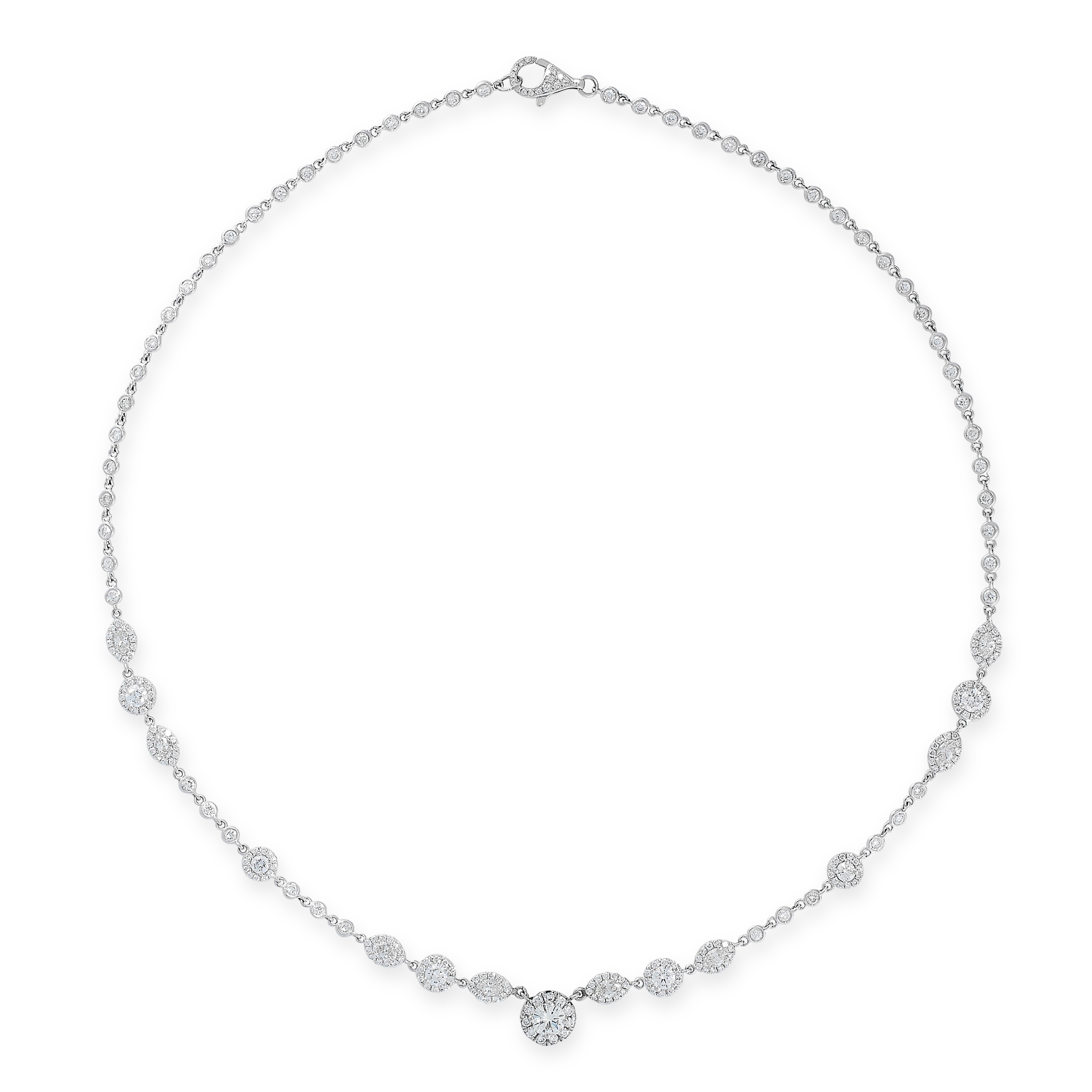 DIAMOND NECKLACE in 18ct white gold, formed of fifteen clusters of round and marquise cut