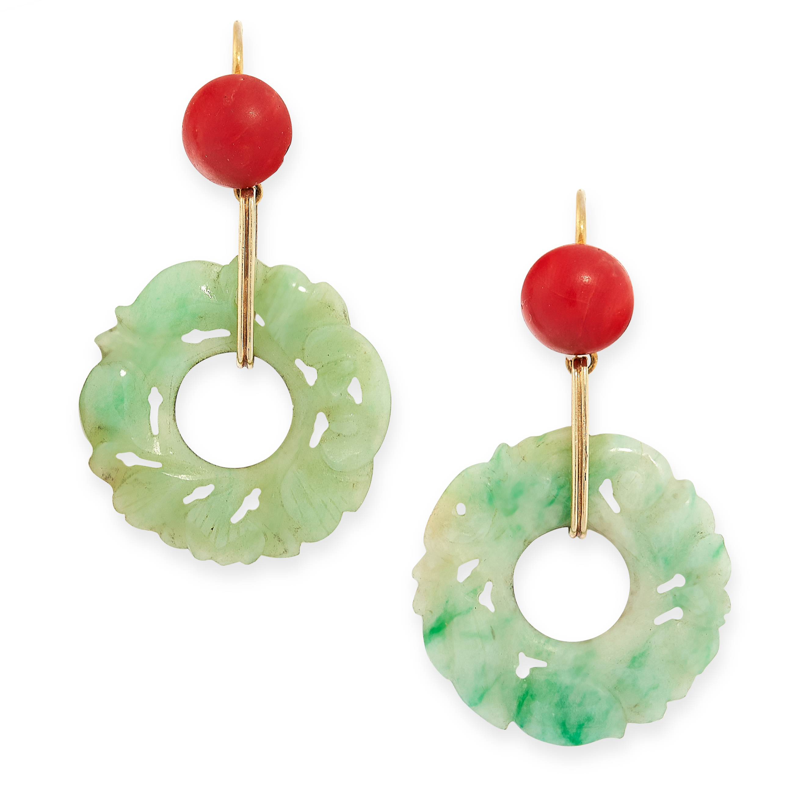 PAIR OF ANTIQUE CORAL AND JADEITE JADE EARRINGS in yellow gold, each set with a cabochon coral
