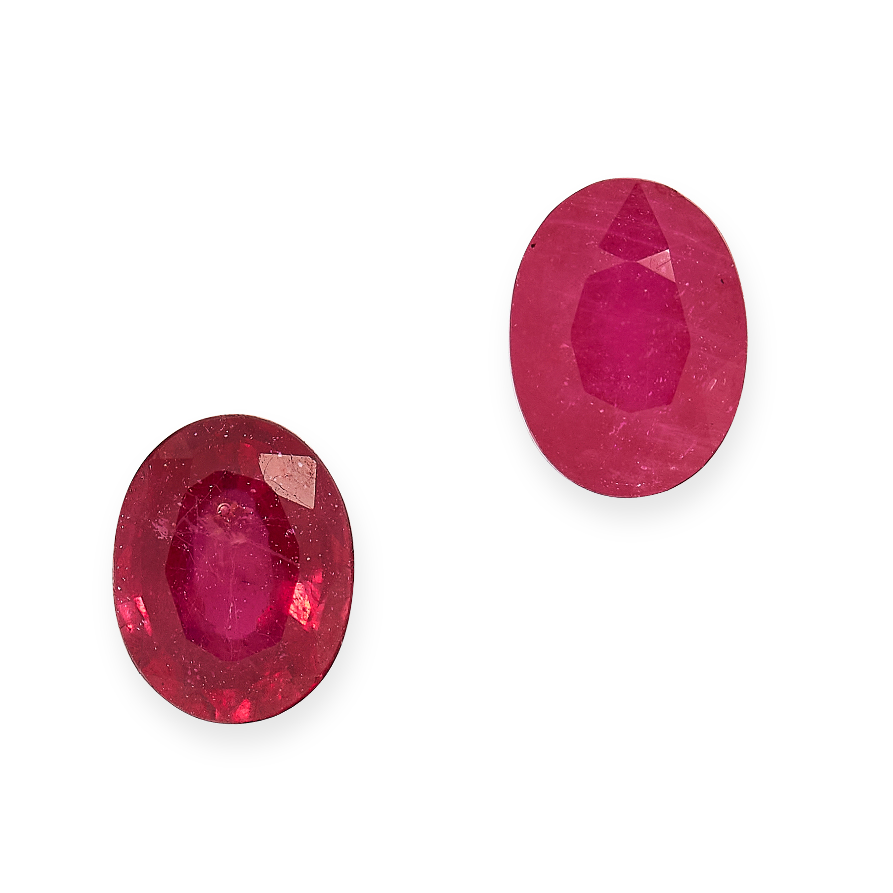 TWO UNMOUNTED RUBIES of 3.50 carats, oval cut.