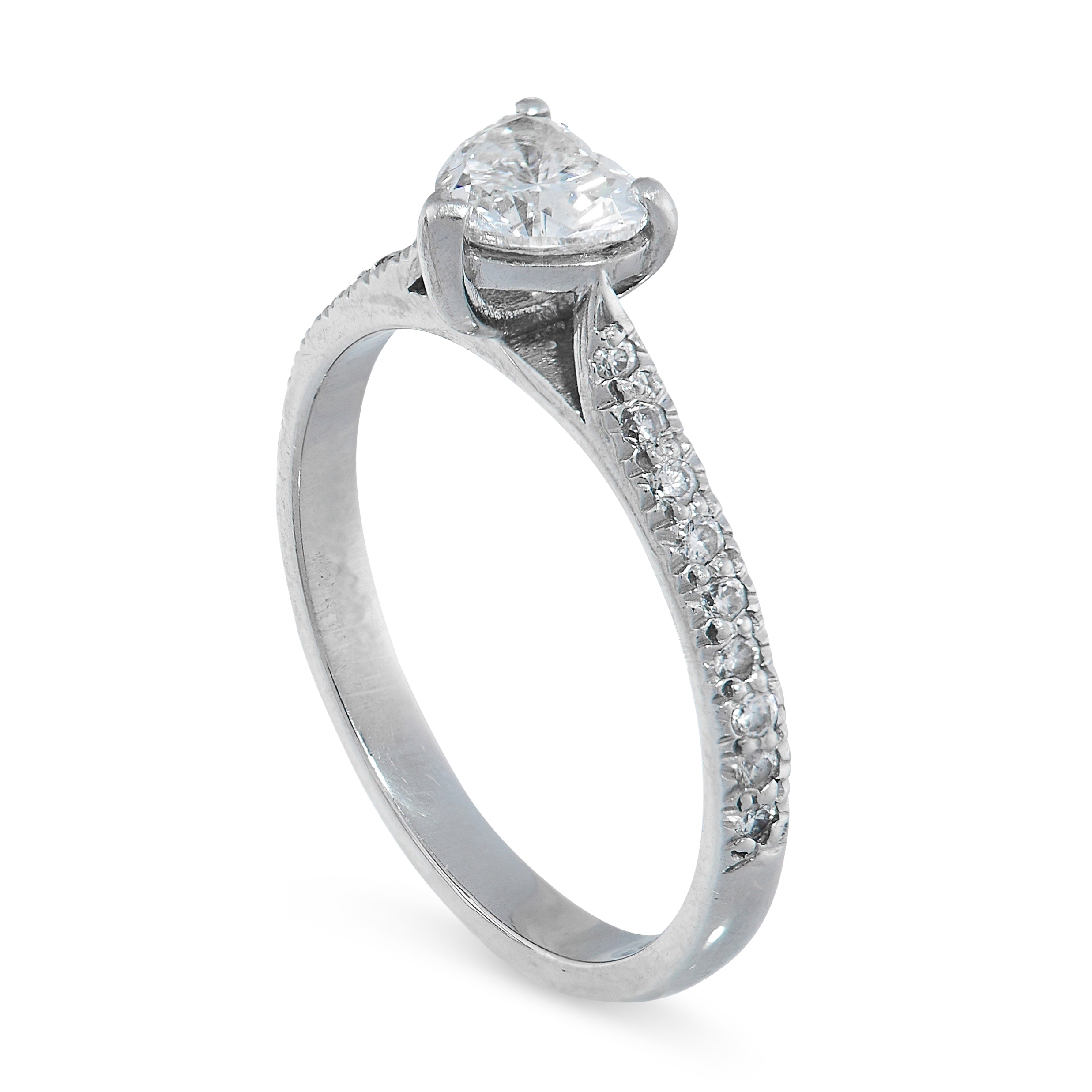 DIAMOND RING comprising of a heart cut diamond of 0.43 carats with round cut diamonds to the - Image 2 of 2