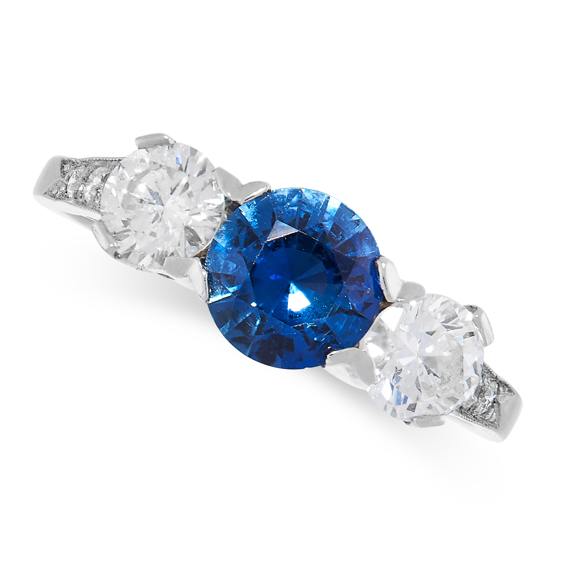 SAPPHIRE AND DIAMOND THREE STONE RING comprising of a round cut sapphire of 0.92 carats between