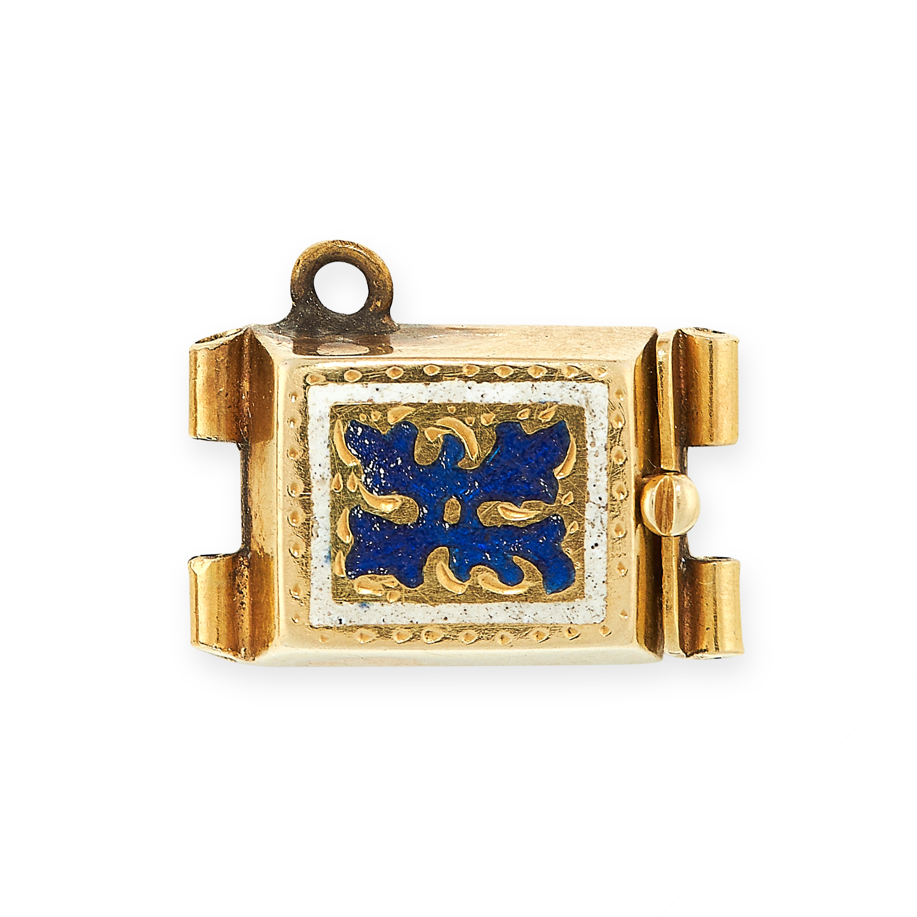 ANTIQUE ENAMEL NECKLACE / BRACELET CLASP the rectangular face is set with blue enamel in foliate