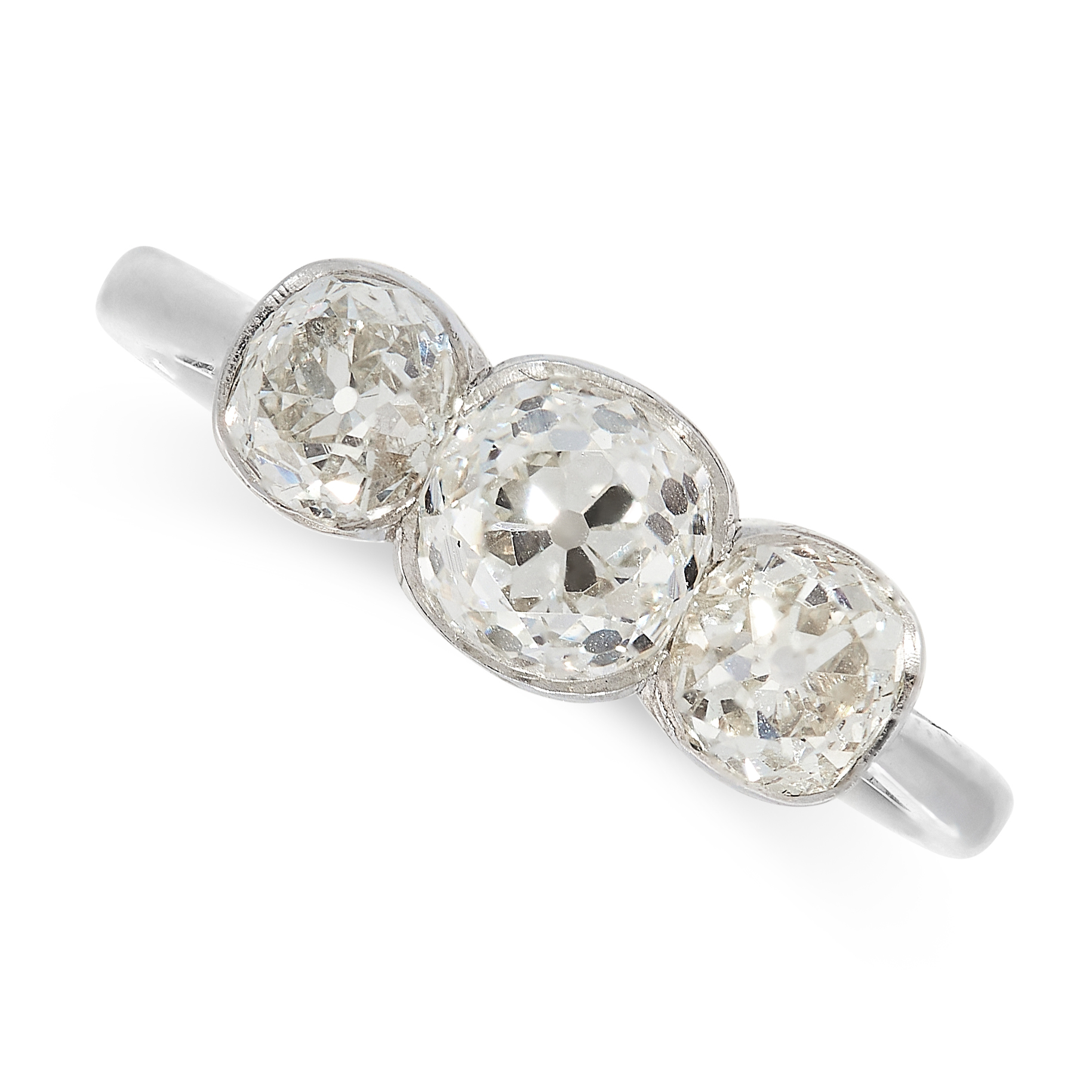DIAMOND THREE STONE RING comprising of three old cut diamonds totalling 1.57 carats, French marks,