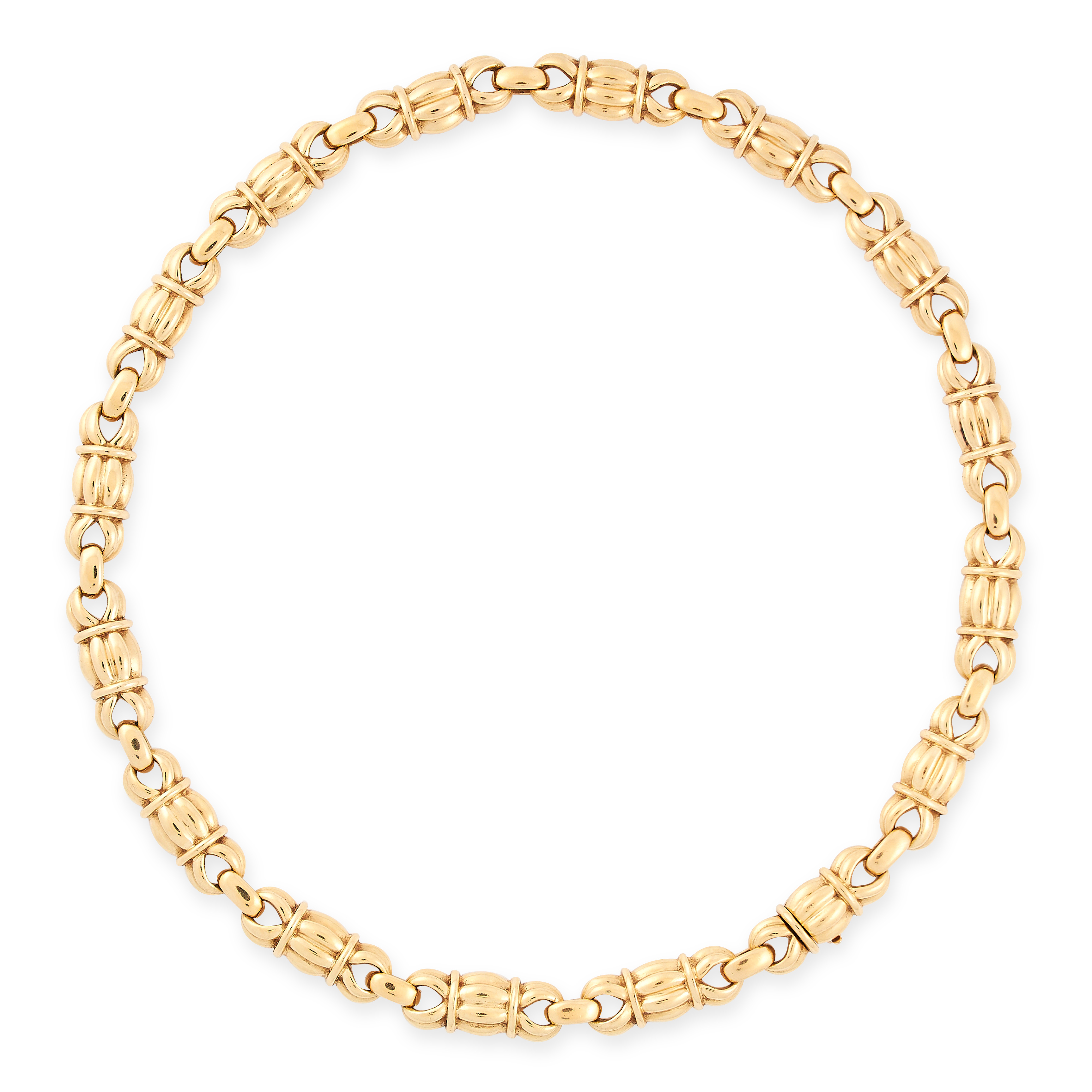VINTAGE NECKLACE AND EARRINGS SUITE in 18ct yellow gold, the necklace is formed of fancy barrel