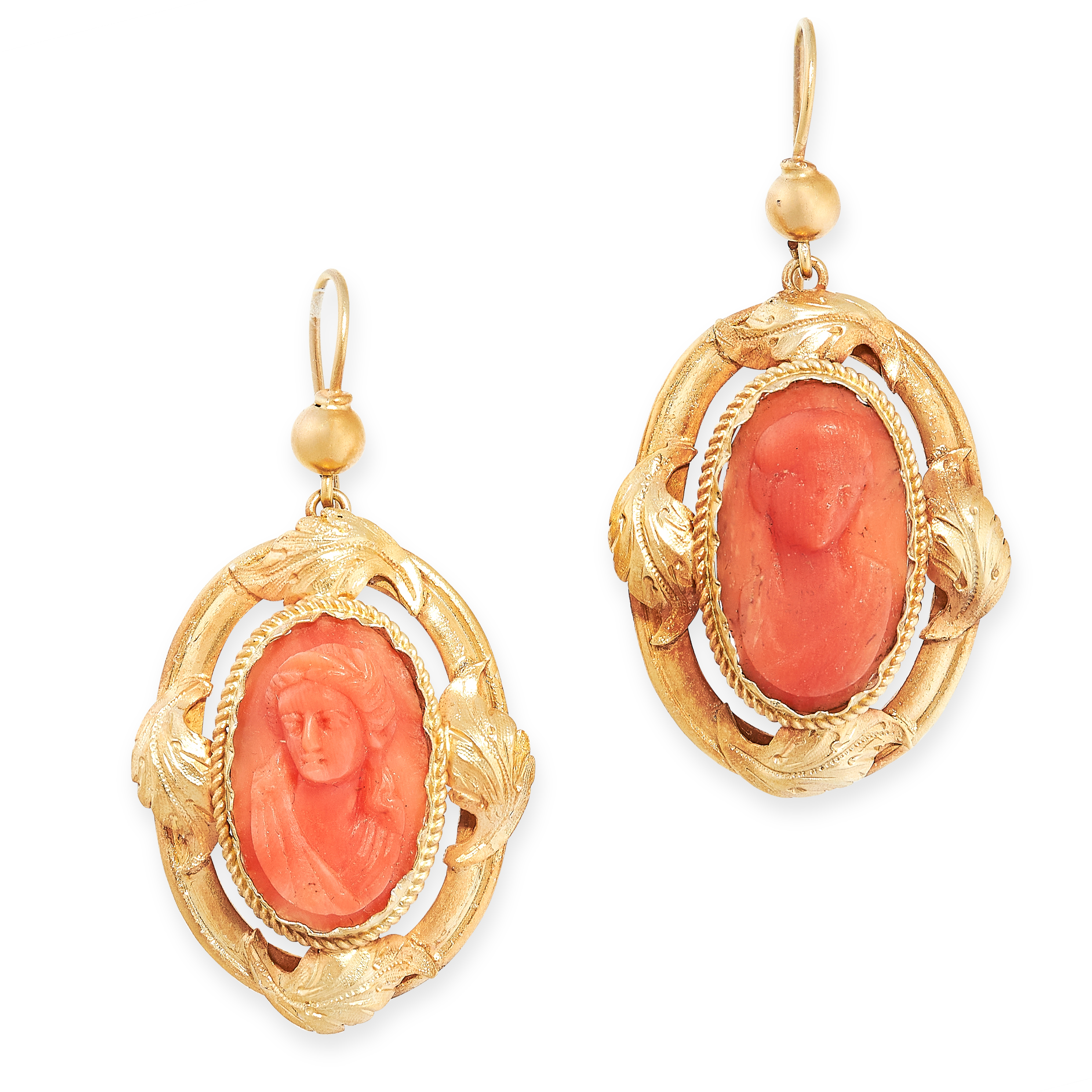 PAIR OF ANTIQUE CORAL CAMEO EARRINGS, 19TH CENTURY each set with a carved coral cameo depicting