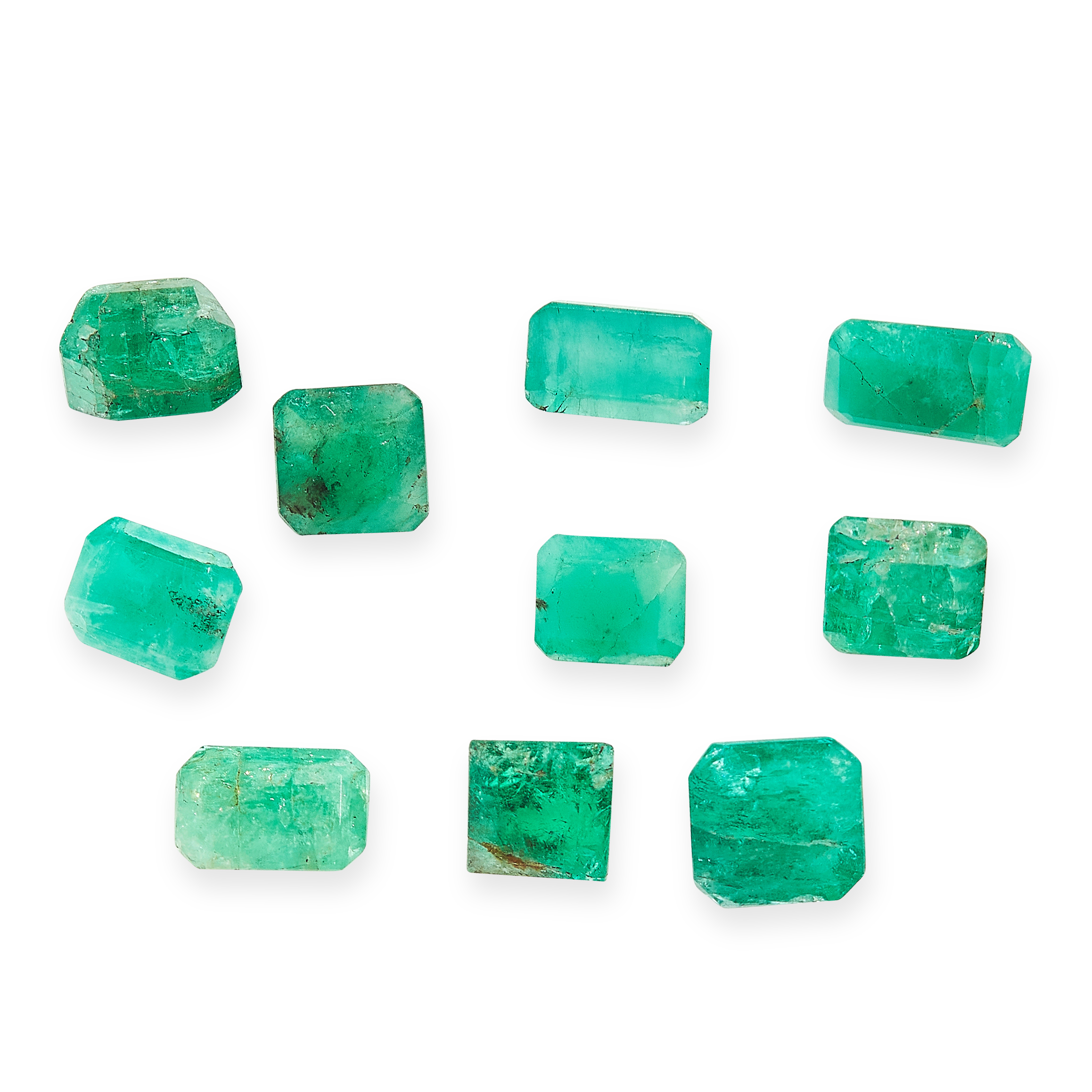 MIXED LOT OF UNMOUNTED EMERALDS of various cuts, totalling 10.16 carats.