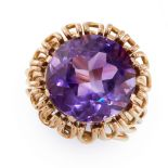 VINTAGE AMETHYST RING comprising of a round cut amethyst in open wirework border, unmarked, size M /
