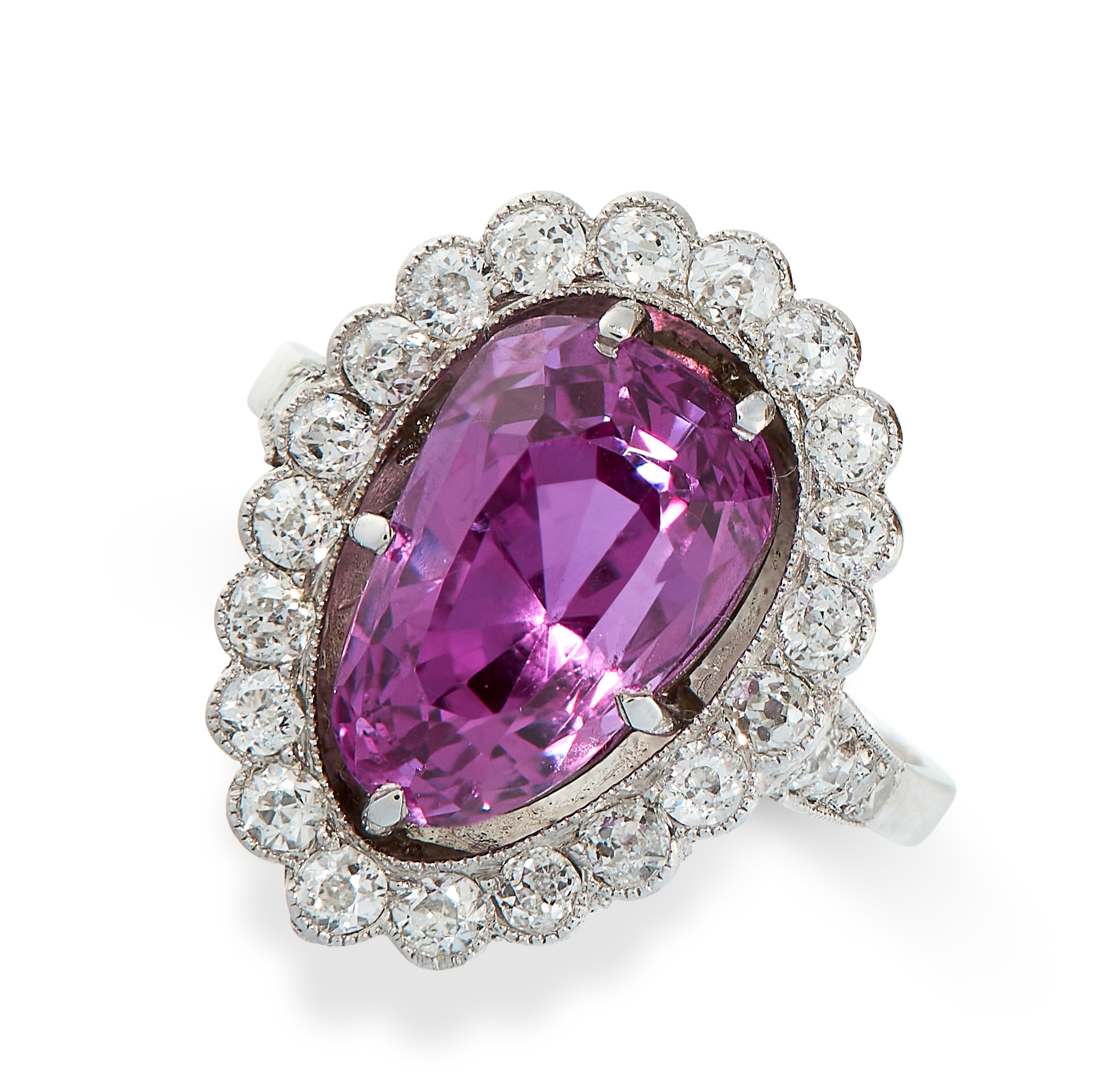 CEYLON NO HEAT PINK SAPPHIRE AND DIAMOND RING in cluster form, set with a pear cut pink sapphire