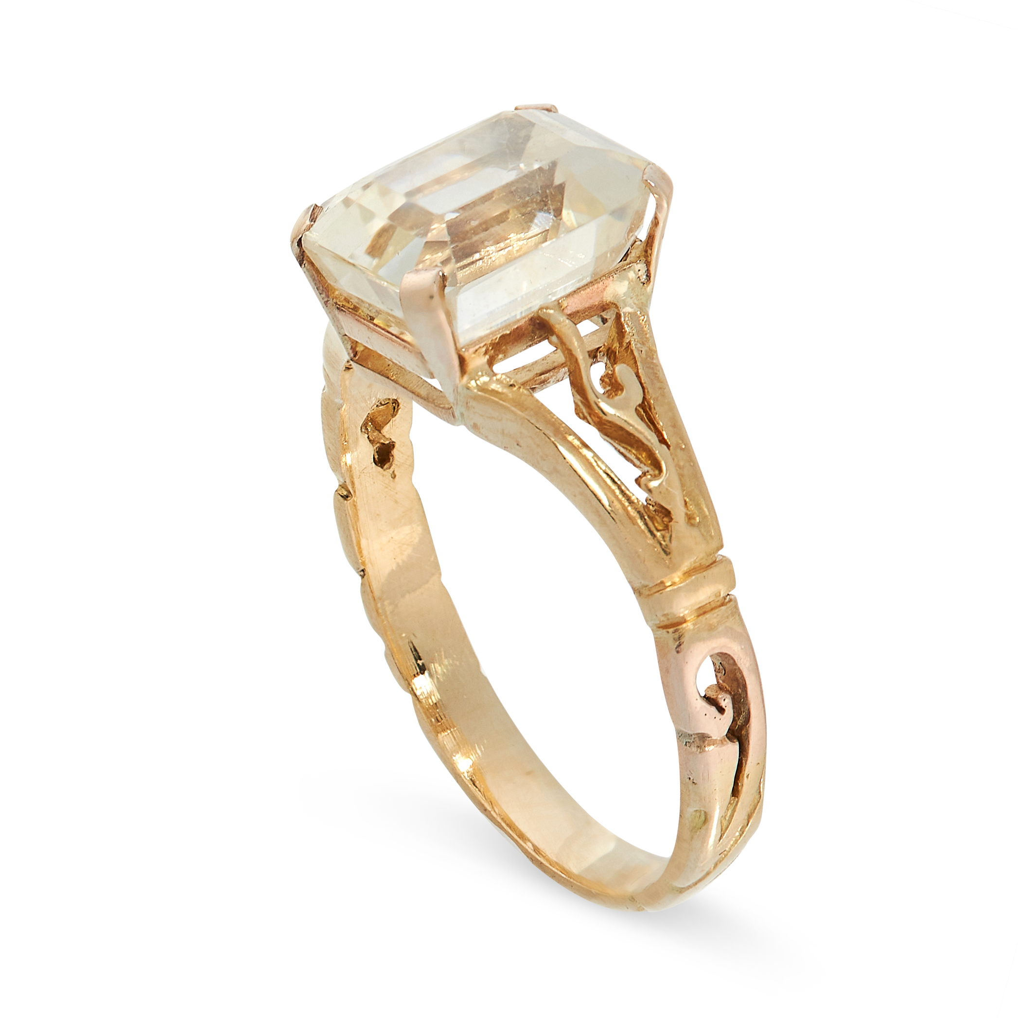YELLOW SAPPHIRE RING comprising of an emerald cut yellow sapphire of 2.57 carats with scrolling - Image 2 of 2