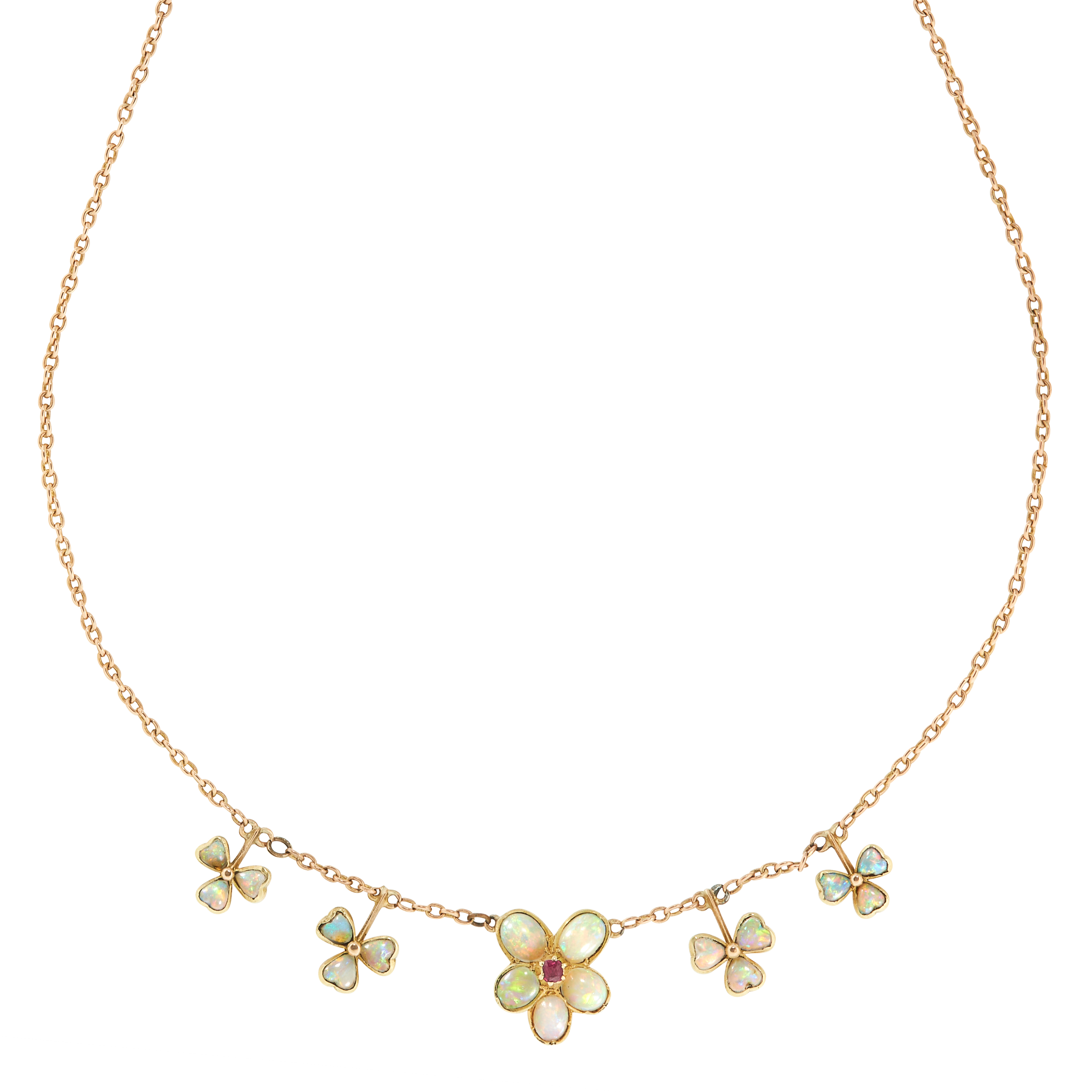 OPAL AND RUBY NECKLACE, EARLY 20TH CENTURY set with a cluster of five cabochon opals in the form