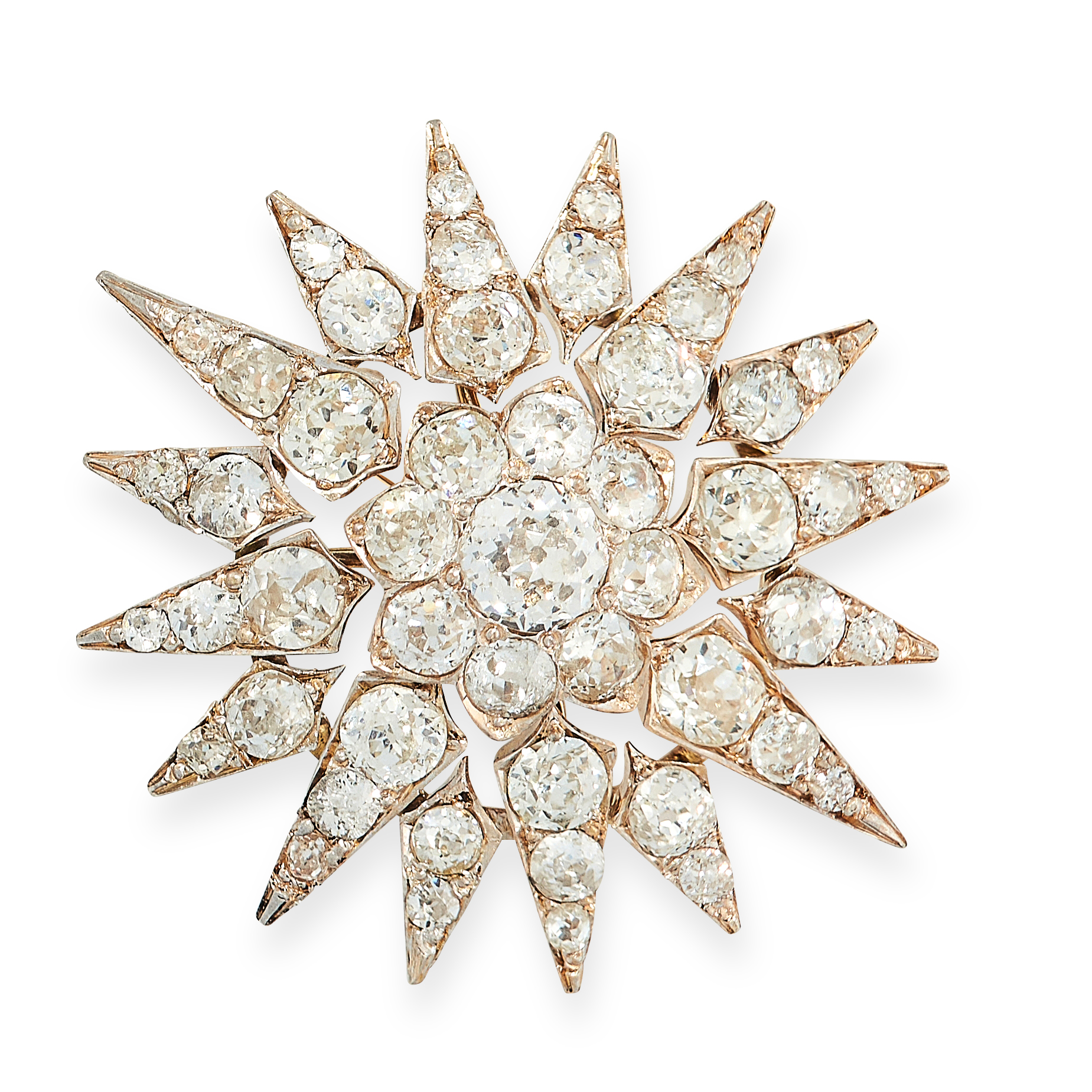 ANTIQUE DIAMOND STAR BROOCH, 19TH CENTURY in yellow gold and silver, in the form of a star burst set