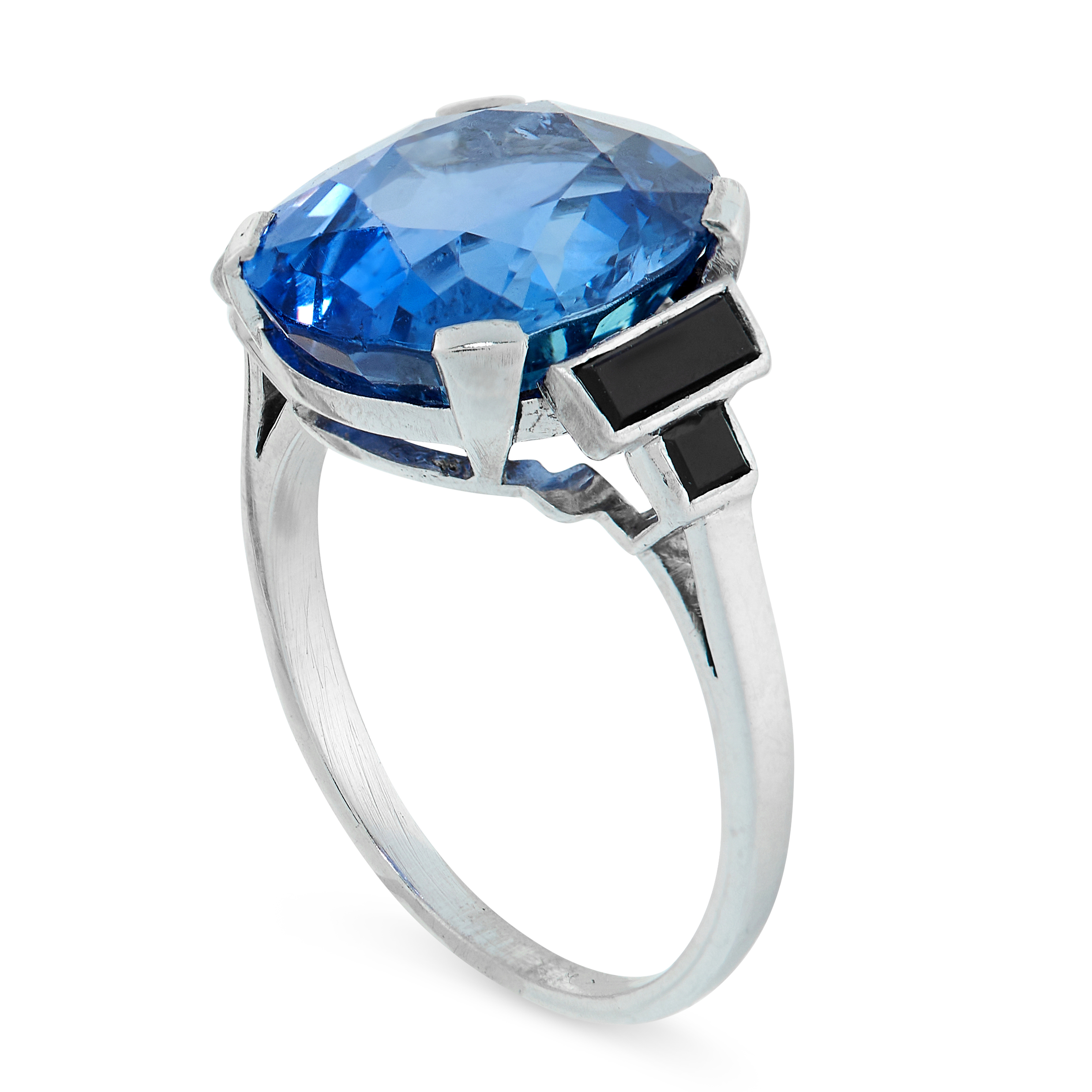 CEYLON NO HEAT SAPPHIRE AND ONYX RING comprising of an oval cut sapphire of 8.66 carats between - Image 2 of 2