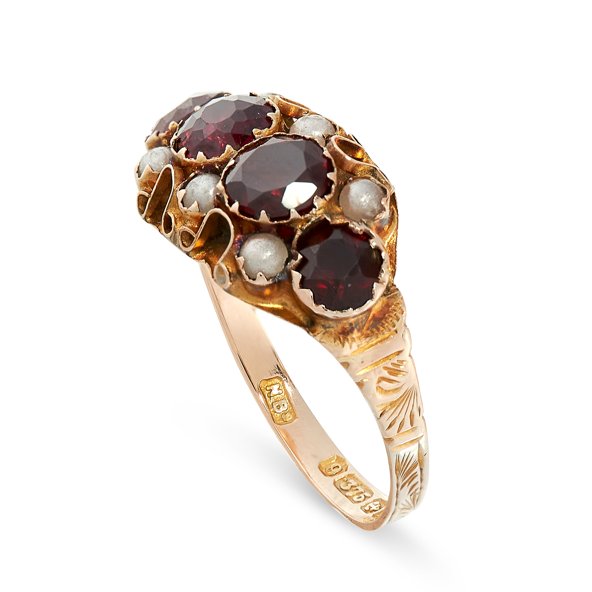 ANTIQUE GARNET AND PEARL RING in yellow gold, comprising of four round cut garnets accented by six - Image 2 of 2
