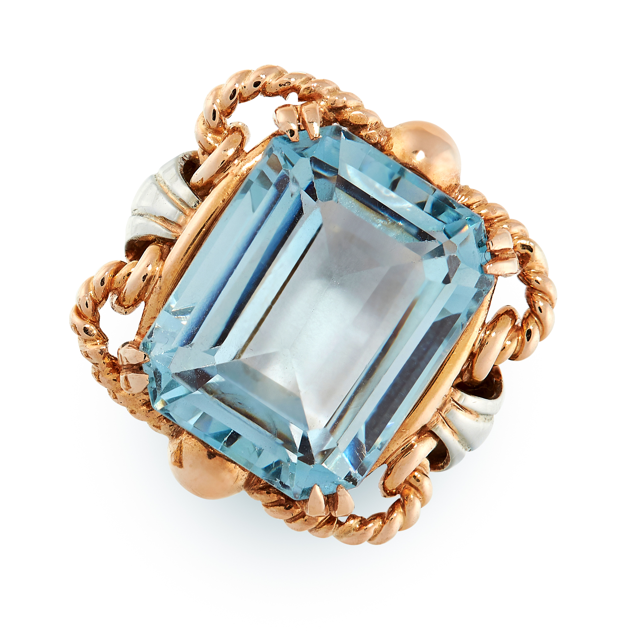 RETRO BLUE GEMSTONE RING comprising of an emerald cut blue gemstones of 13.62 carats in two-tone