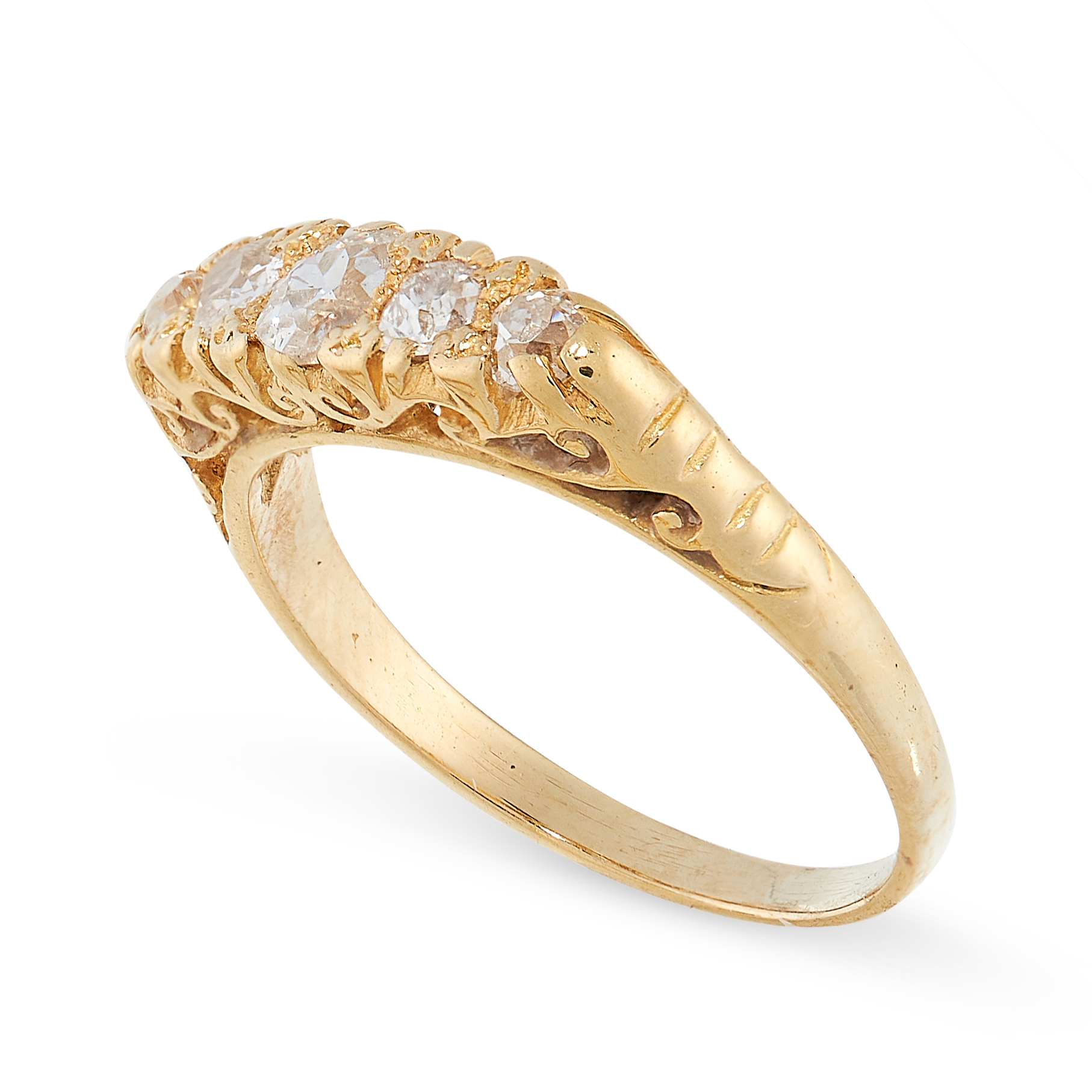 ANTIQUE DIAMOND RING in 18ct yellow gold, set with five graduated old cut diamonds, stamped 18C, - Image 2 of 2