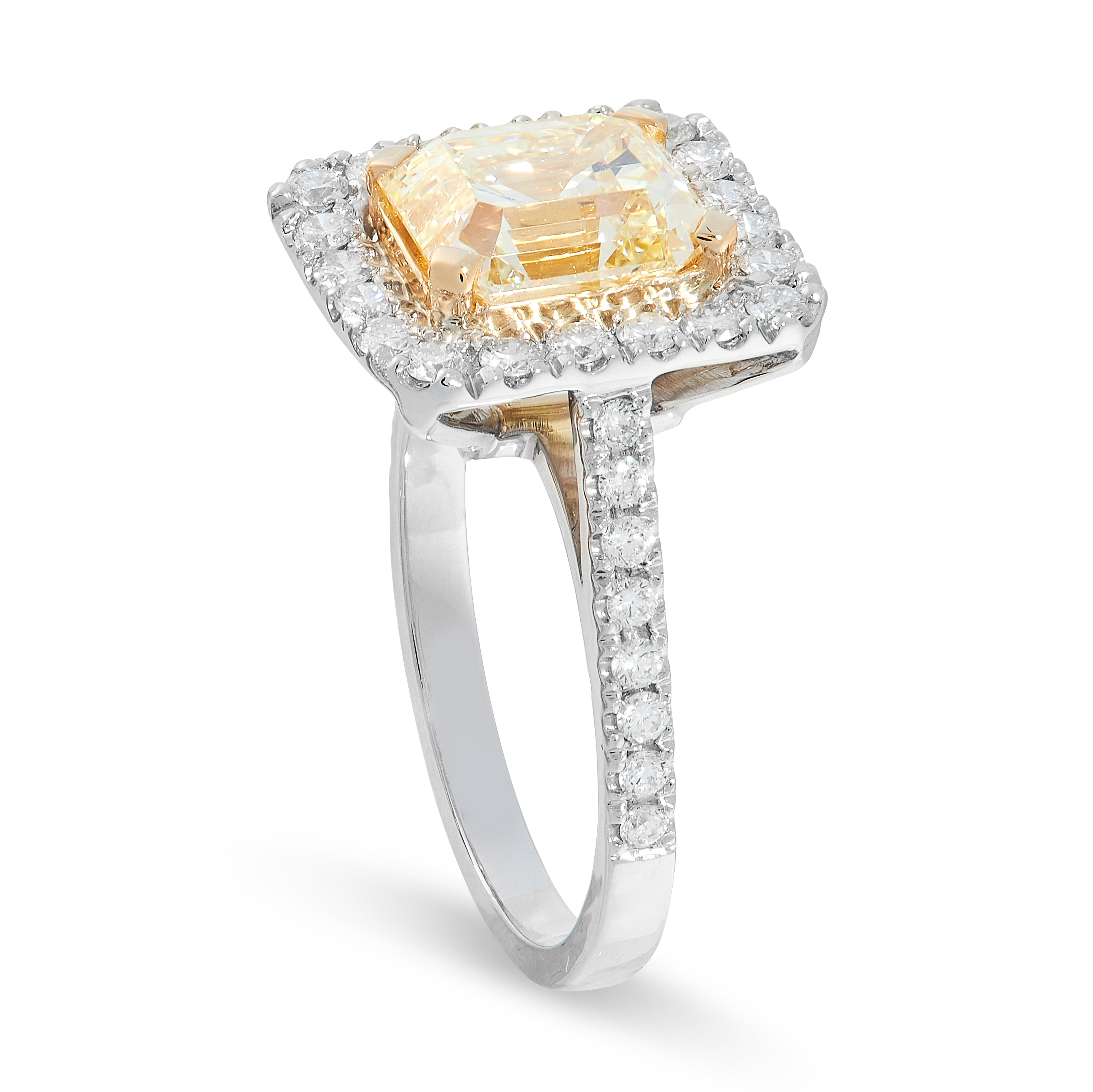 YELLOW DIAMOND AND DIAMOND RING claw set to the centre with an emerald cut yellow diamond of 3.05 - Image 2 of 2
