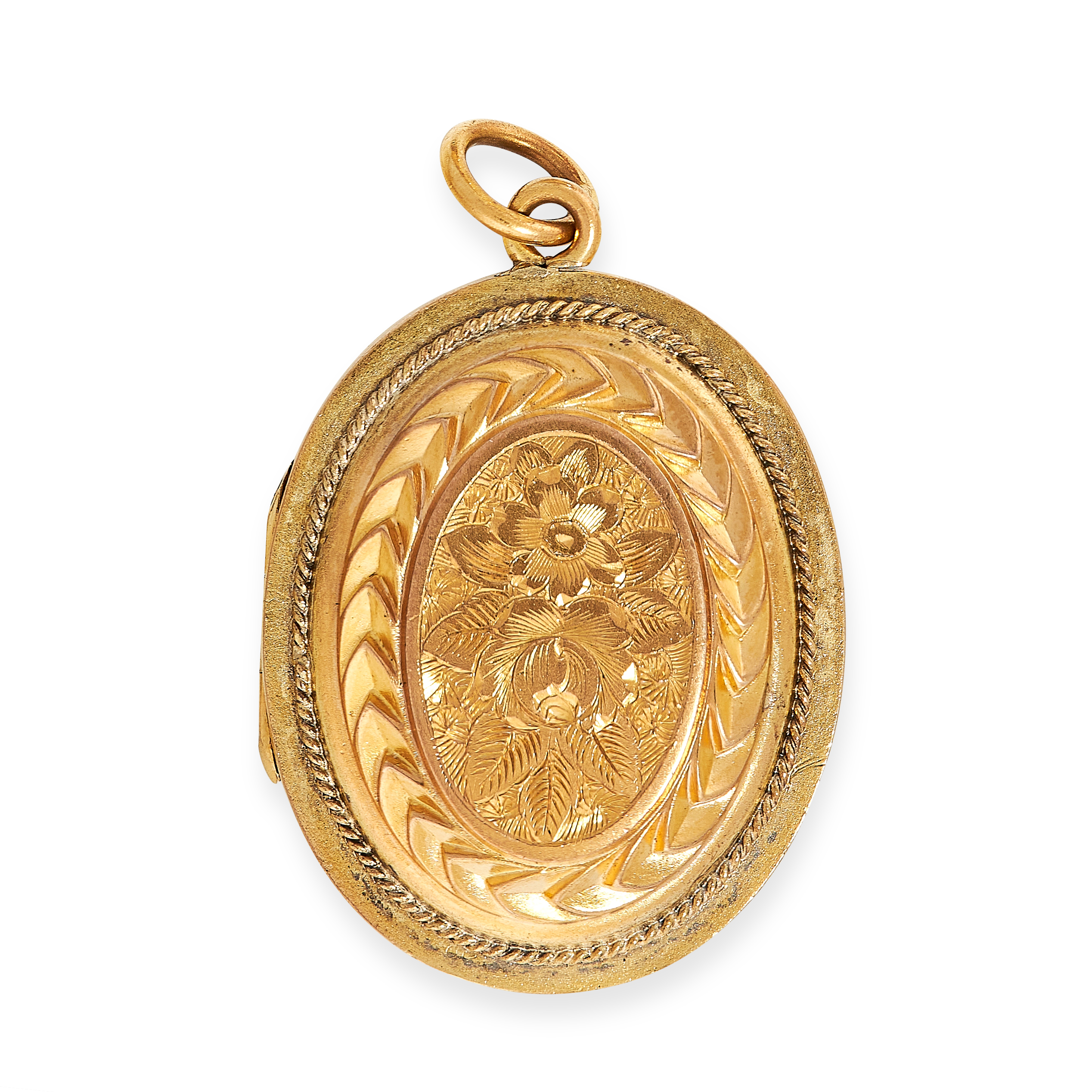 ANTIQUE MOURNING LOCKET PENDANT, 19TH CENTURY the oval face is decorated in engraved foliate