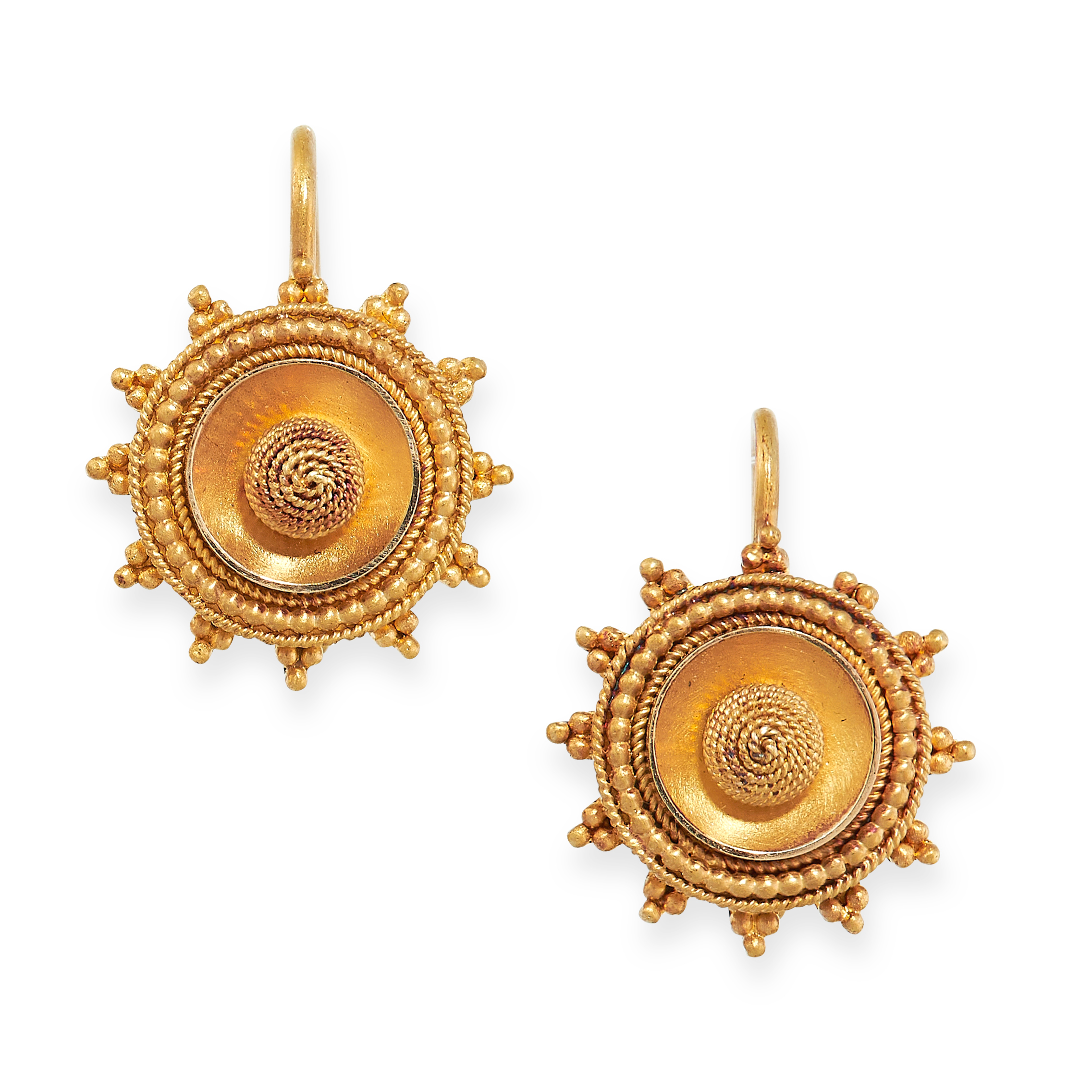ANTIQUE VICTORIAN EARRINGS, 19TH CENTURY in yellow gold, in Etruscan revival form, in circular
