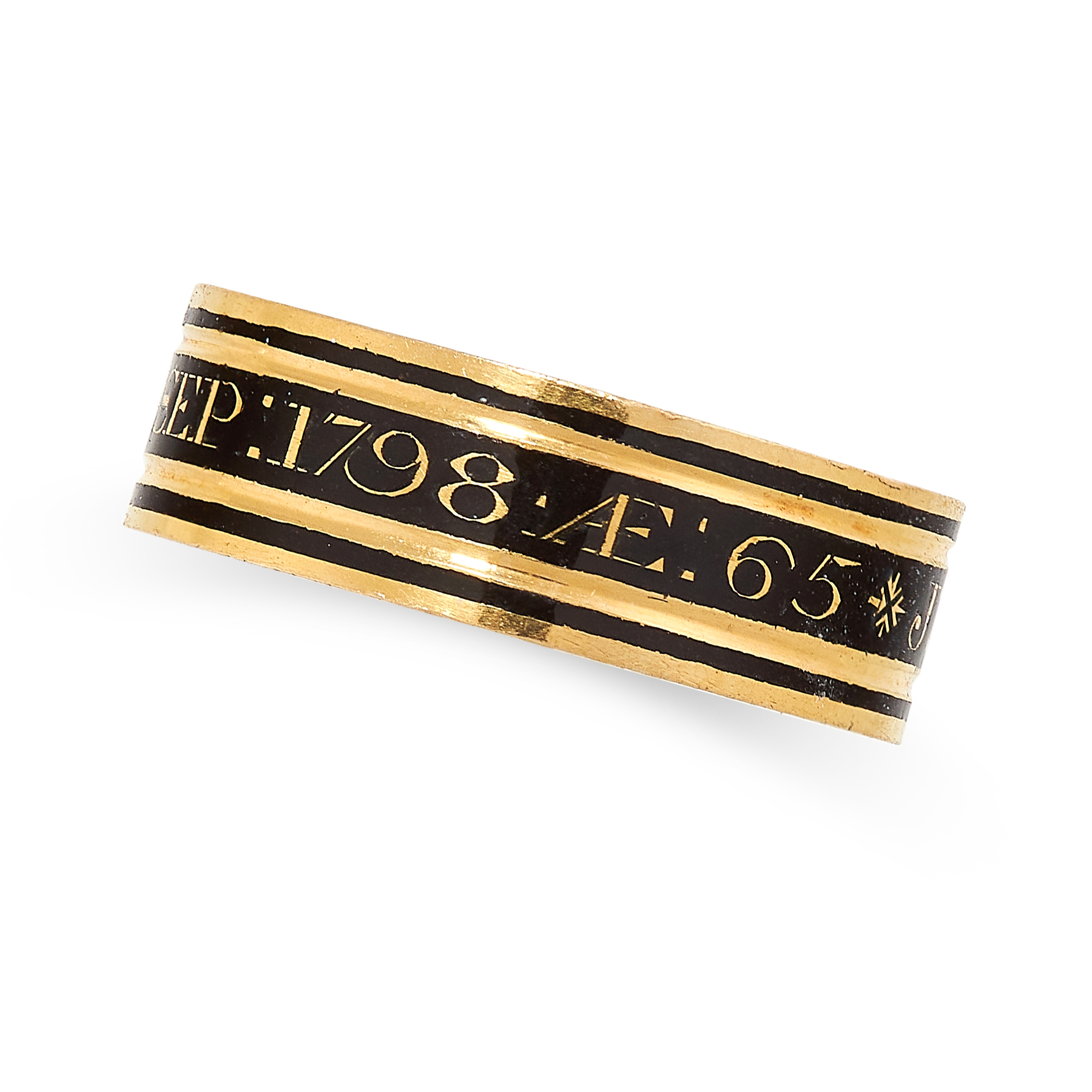 ANTIQUE ENAMEL MOURNING RING, 1798 in 18ct yellow gold, designed as a band set all around with black