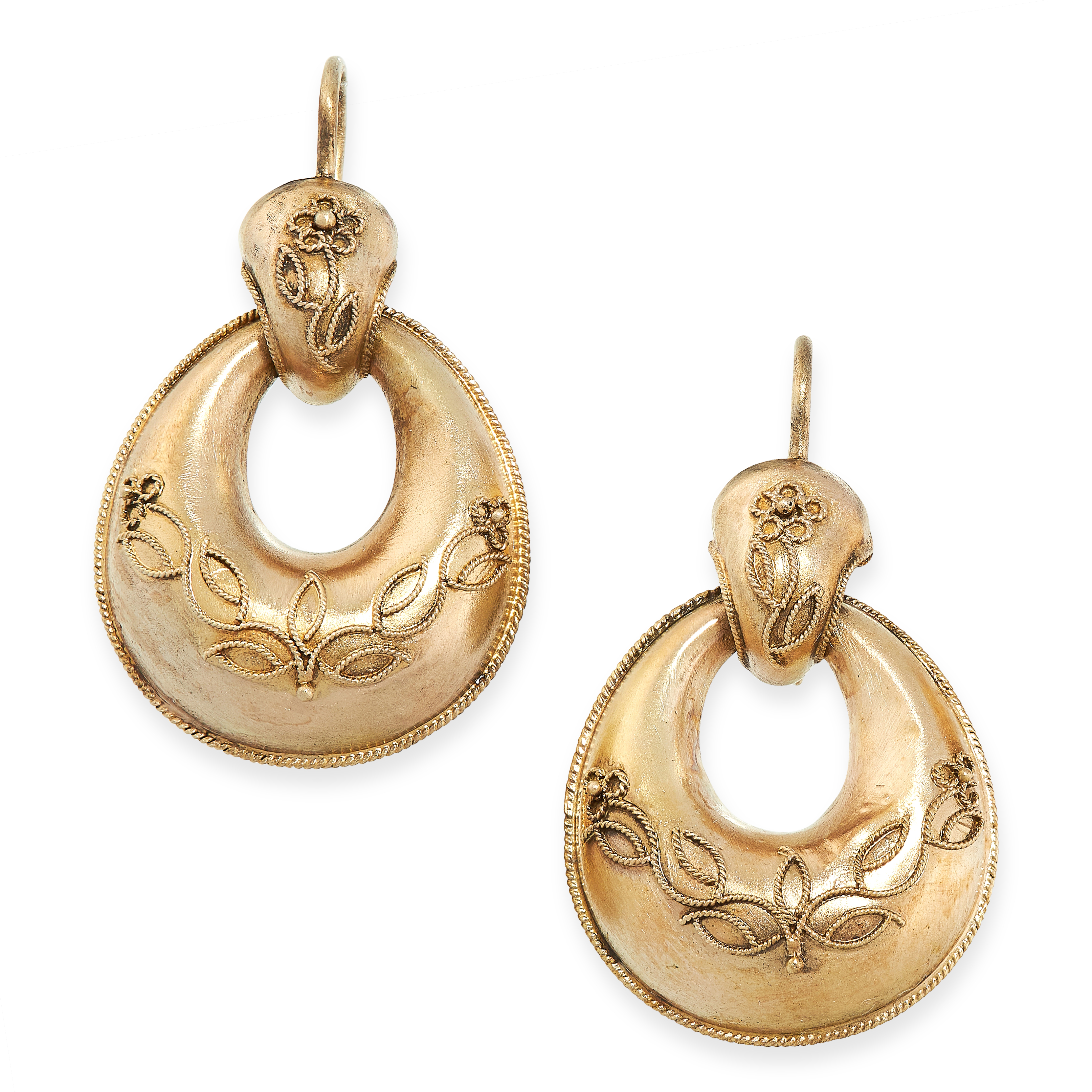 ANTIQUE VICTORIAN EARRINGS in yellow gold, in Etruscan revival form, set with foliate beaded motif