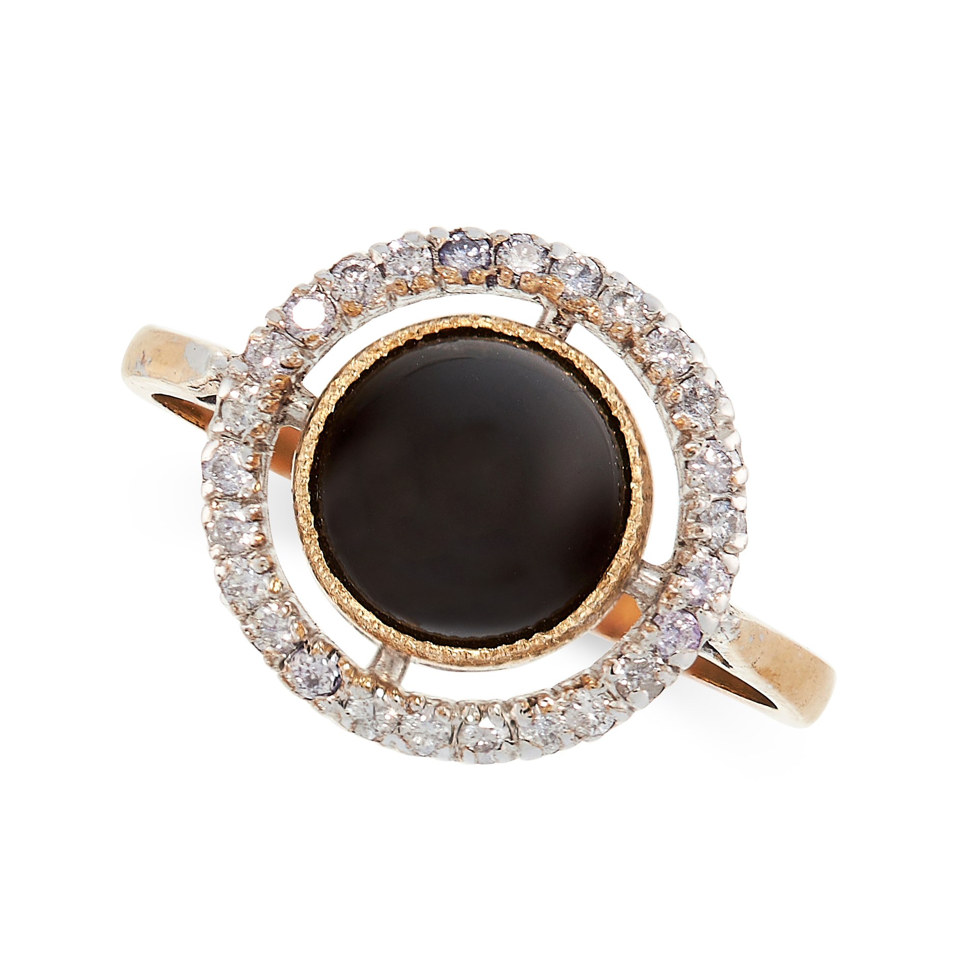 ONYX AND DIAMOND RING in yellow gold, comprising of a central polished onyx cabochon in a border