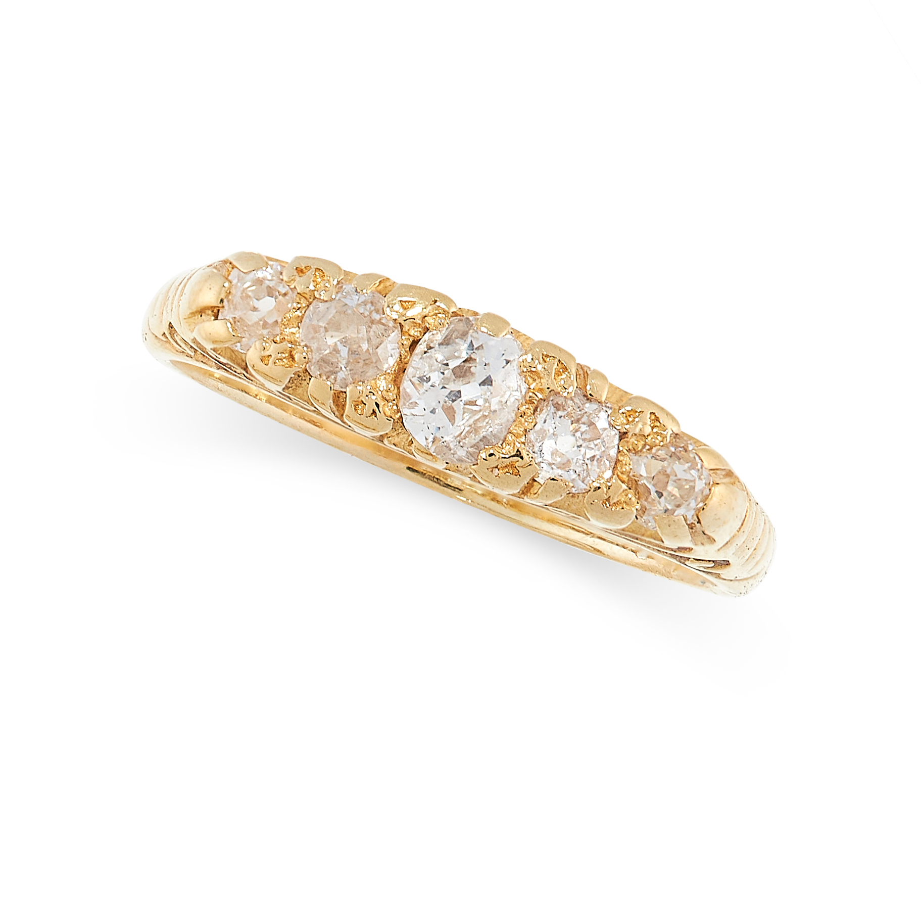 ANTIQUE DIAMOND RING in 18ct yellow gold, set with five graduated old cut diamonds, stamped 18C,