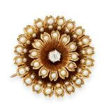 ANTIQUE PEARL AND DIAMOND BROOCH / PENDANT in yellow gold, in the form of a flower, set with a