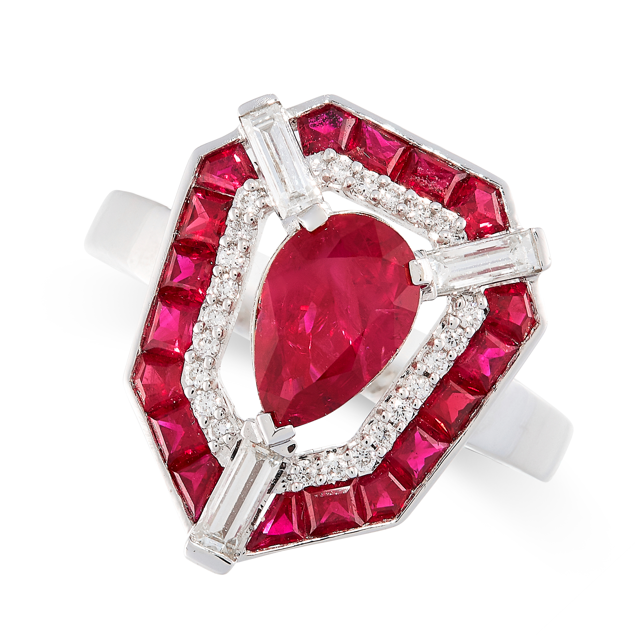 UNHEATED RUBY AND DIAMOND RING set with a pear cut ruby of 1.40 carats in a border of round cut