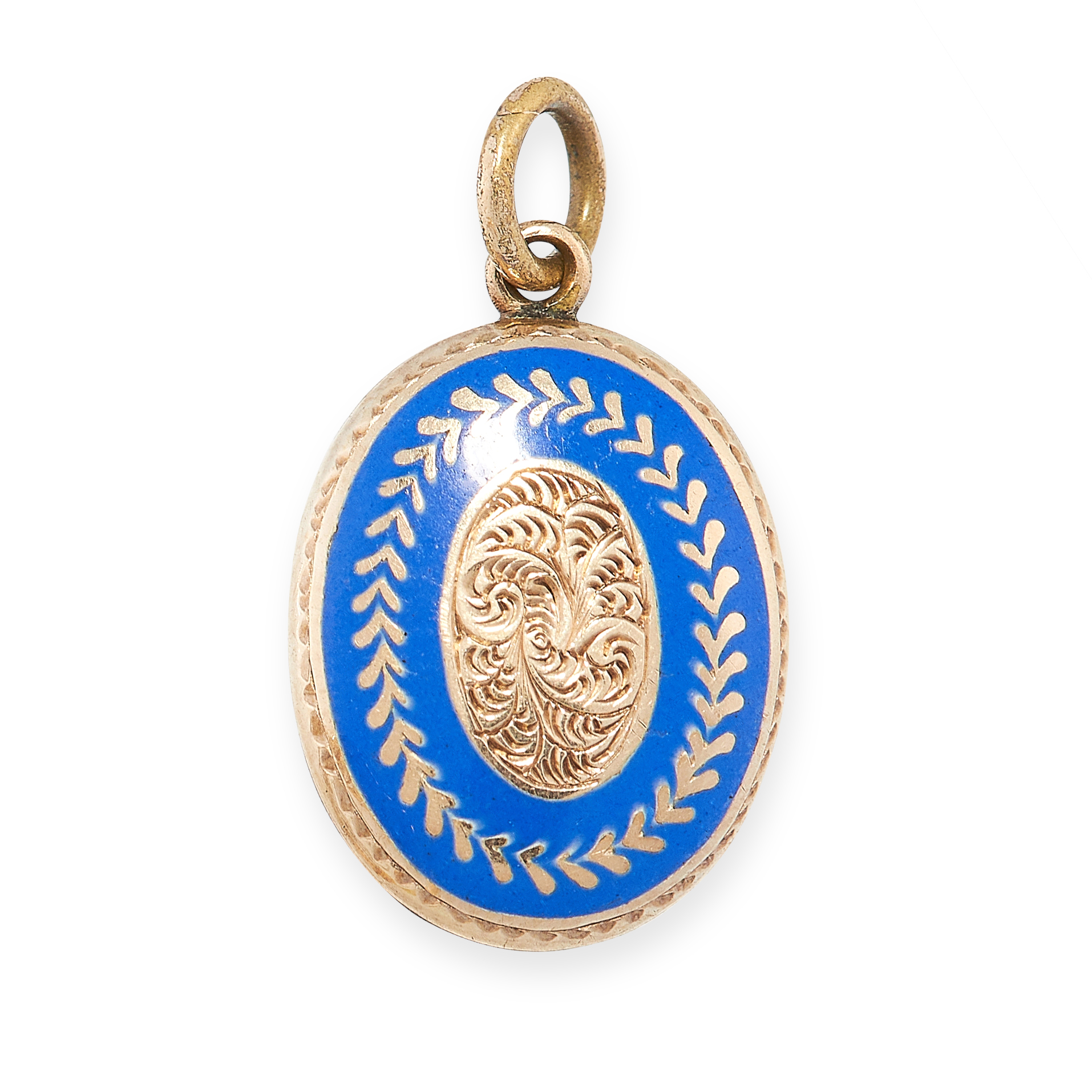 ANTIQUE ENAMEL MOURNING LOCKET PENDANT in yellow gold, of oval form, decorated with blue enamel
