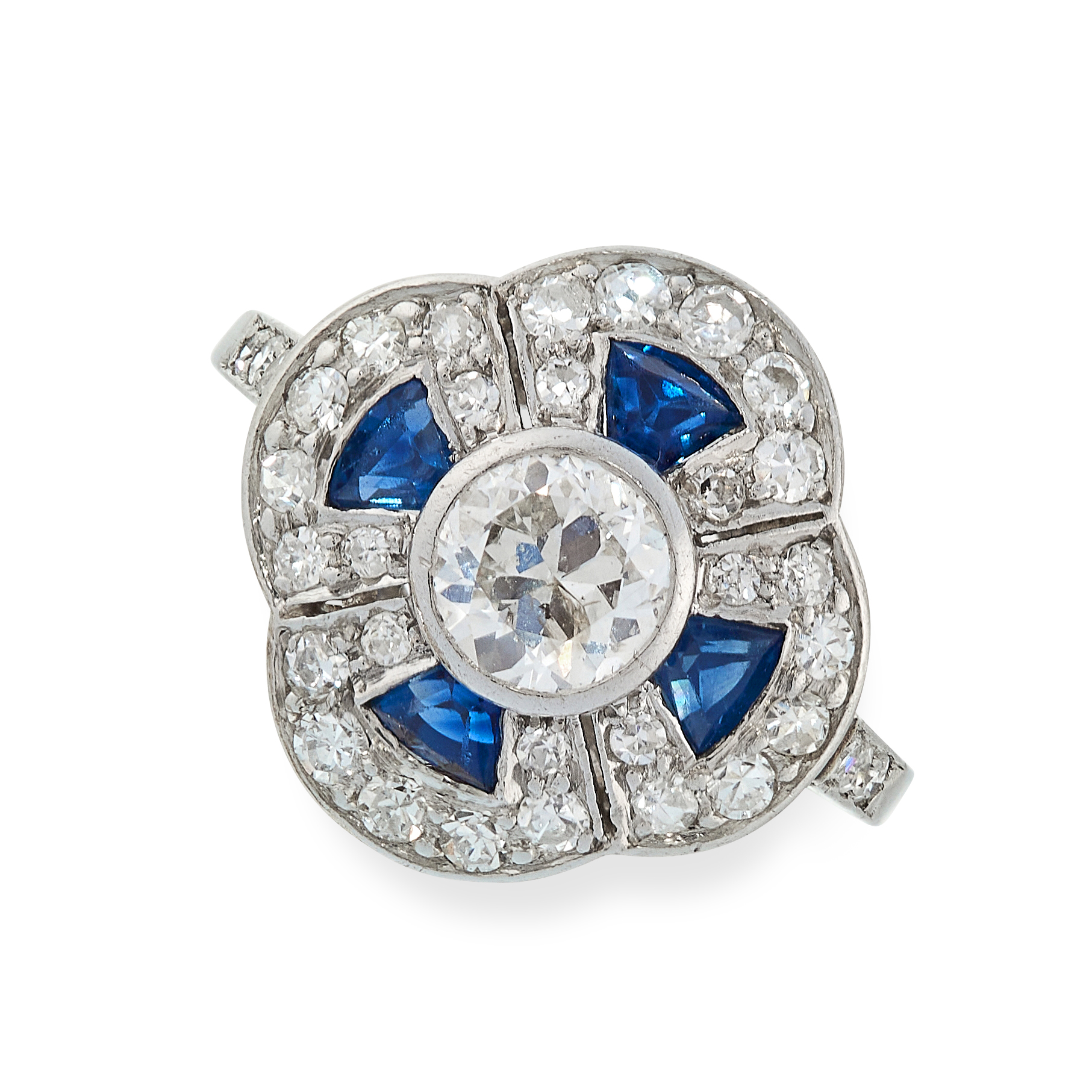 SAPPHIRE AND DIAMOND RING in cluster form, set with an old cut diamond of 0.50 carats in a border of