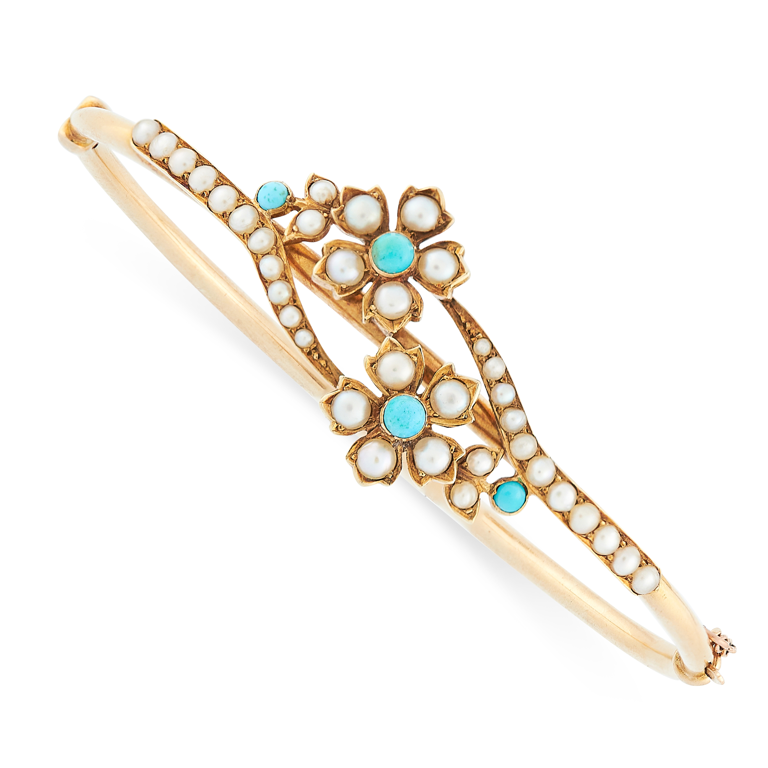 ANTIQUE TURQUOISE AND PEARL BANGLE, 19TH CENTURY in 15ct yellow gold, designed with foliate