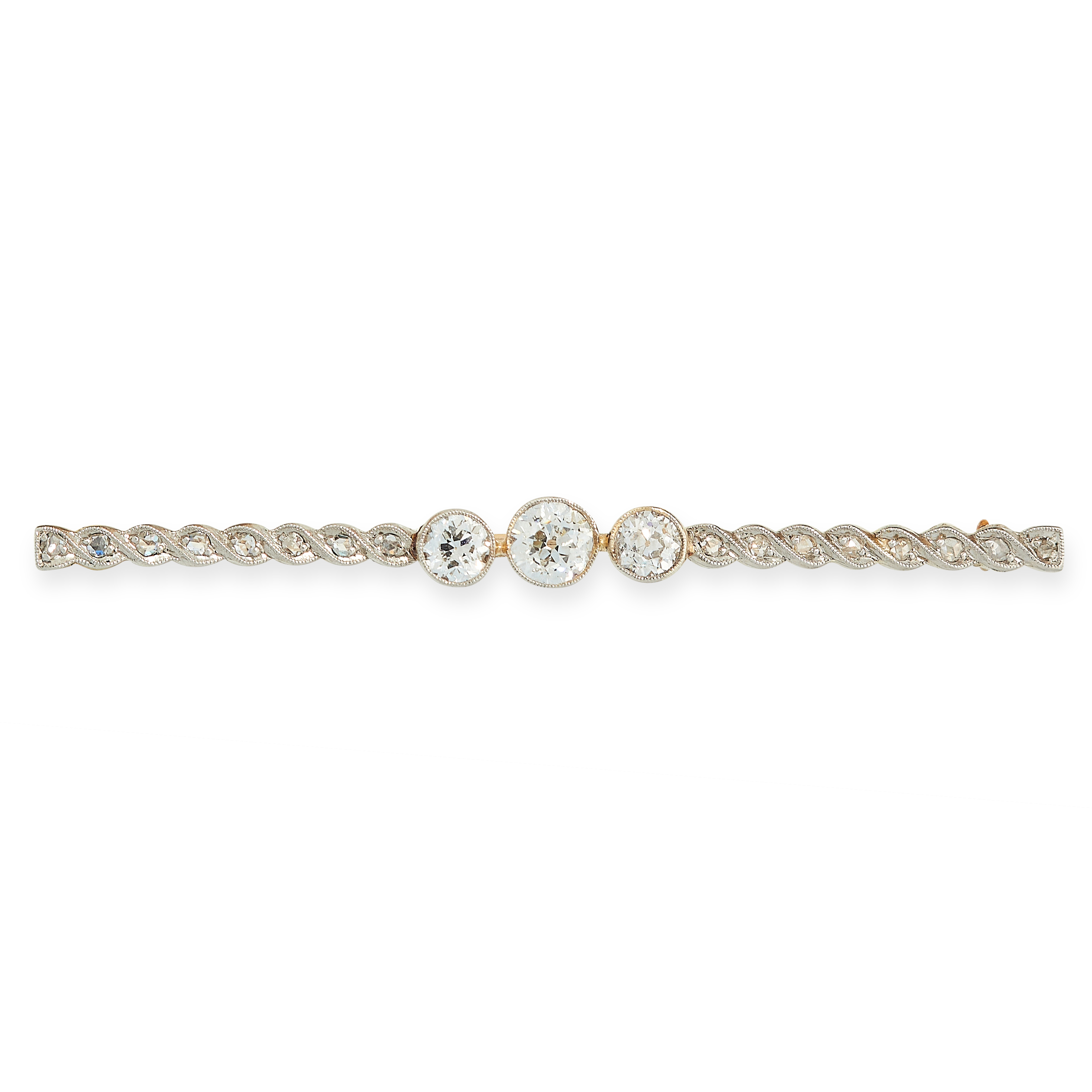 ANTIQUE DIAMOND BAR BROOCH set with three central old cut diamonds, carats between two rows of