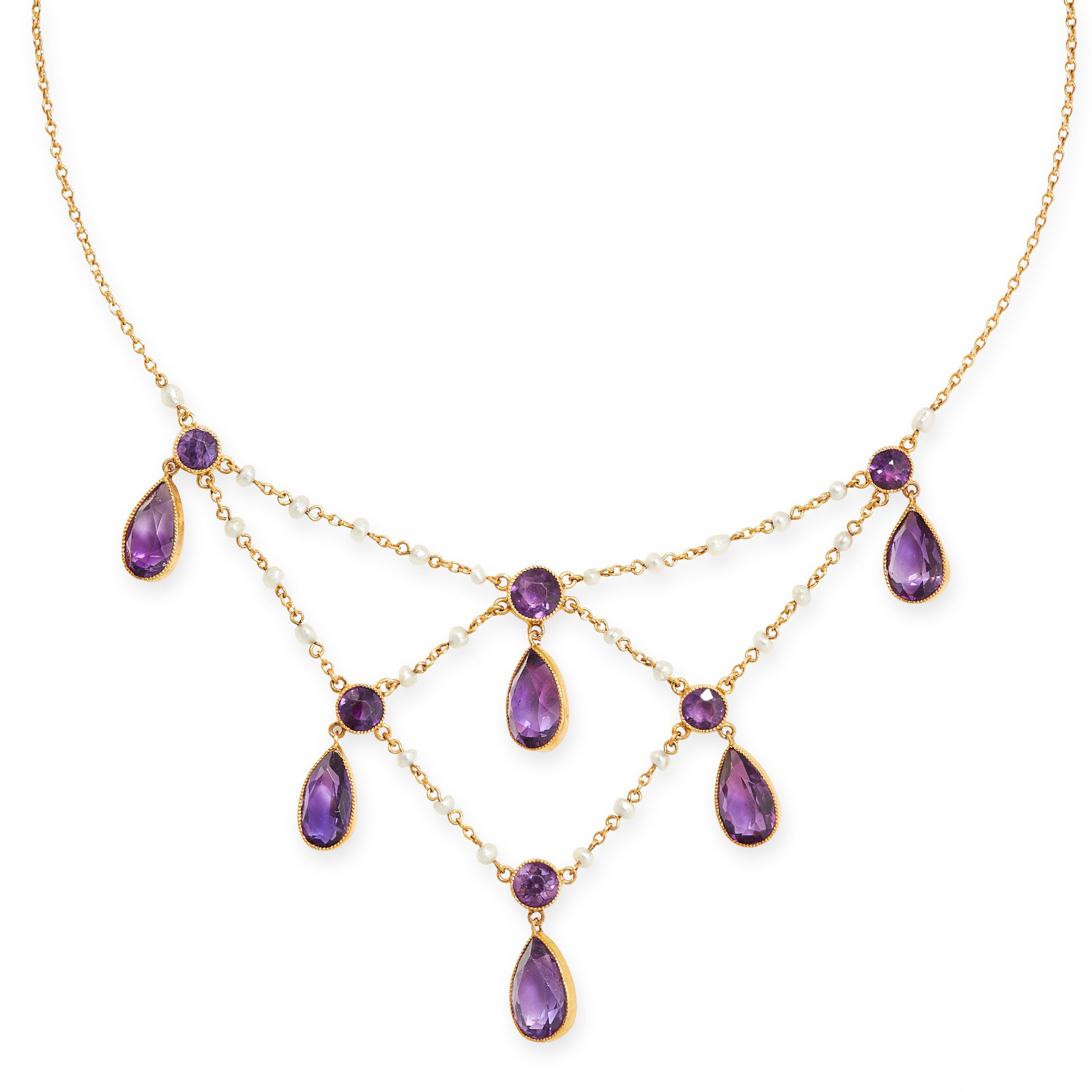 ANTIQUE AMETHYST AND SEED PEARL NECKLACE, CIRCA 1900 the front of festoon design, composed of
