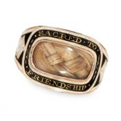 ANTIQUE HAIRWORK AND ENAMEL MOURNING LOCKET RING, 1803 in yellow gold, the band set with a cushion