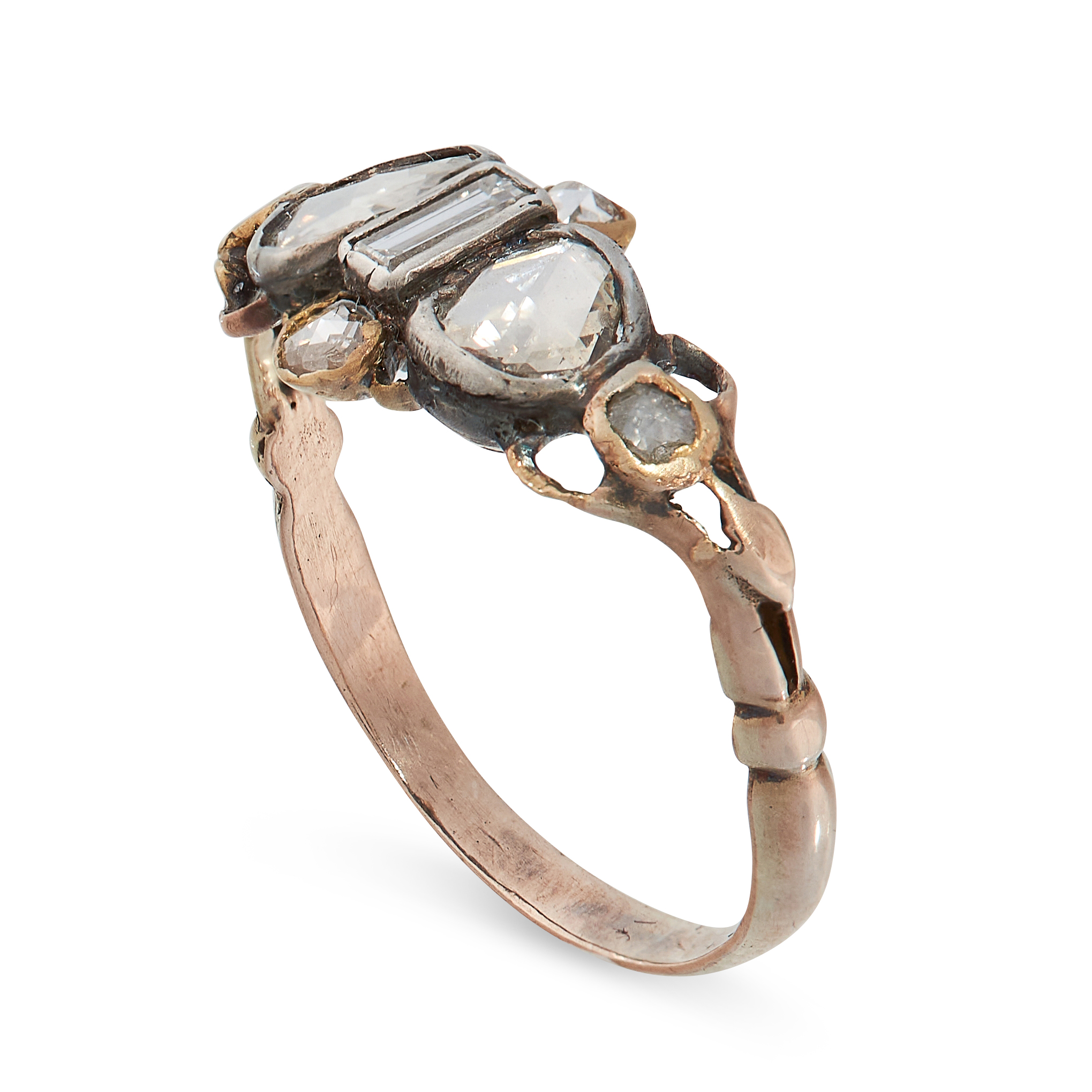 ANTIQUE DIAMOND AND ENAMEL RING in yellow gold and silver, set with a central baguette cut diamond - Image 2 of 2
