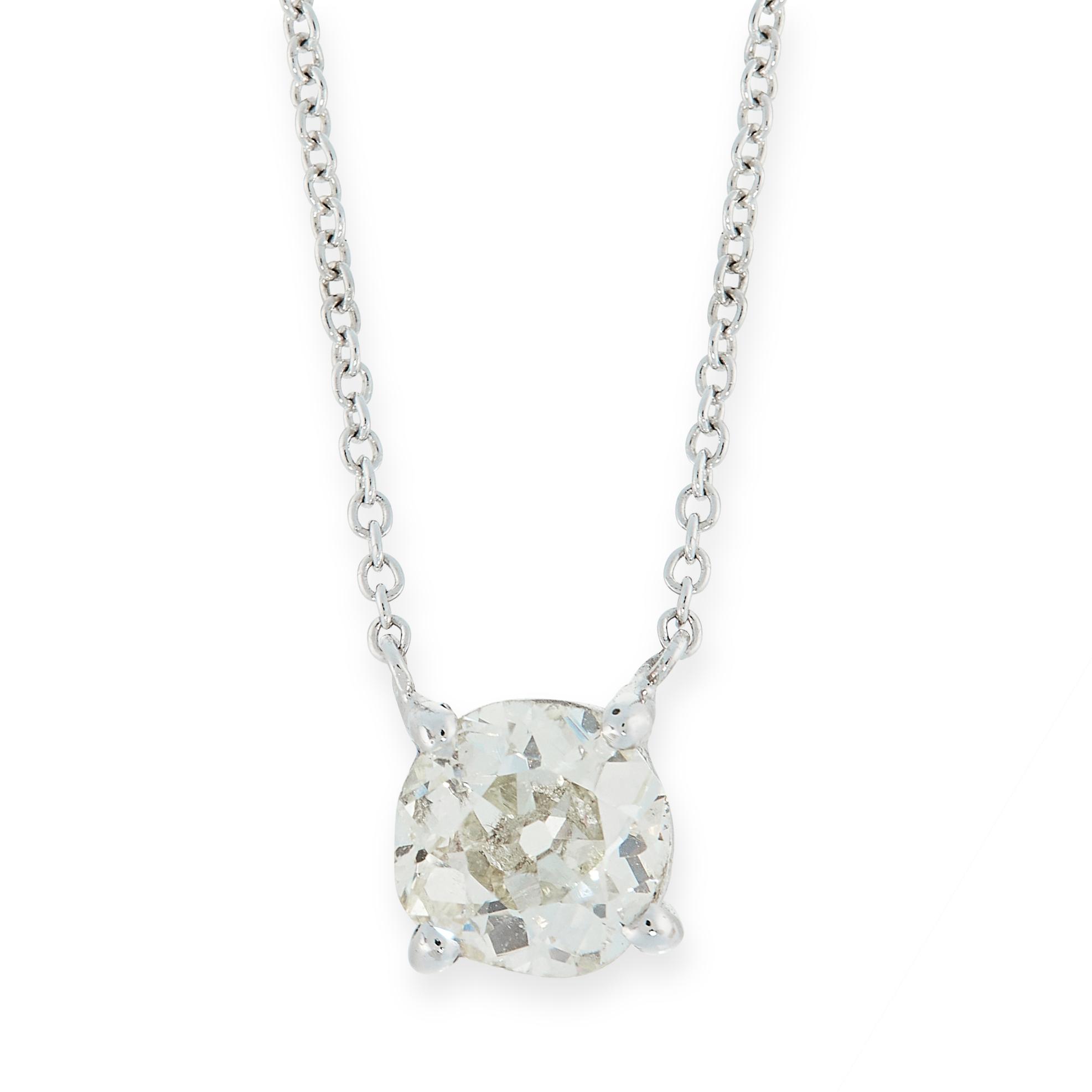 DIAMOND PENDANT NECKLACE set with an old cut diamond of approximately 1.0 carats within a chain,