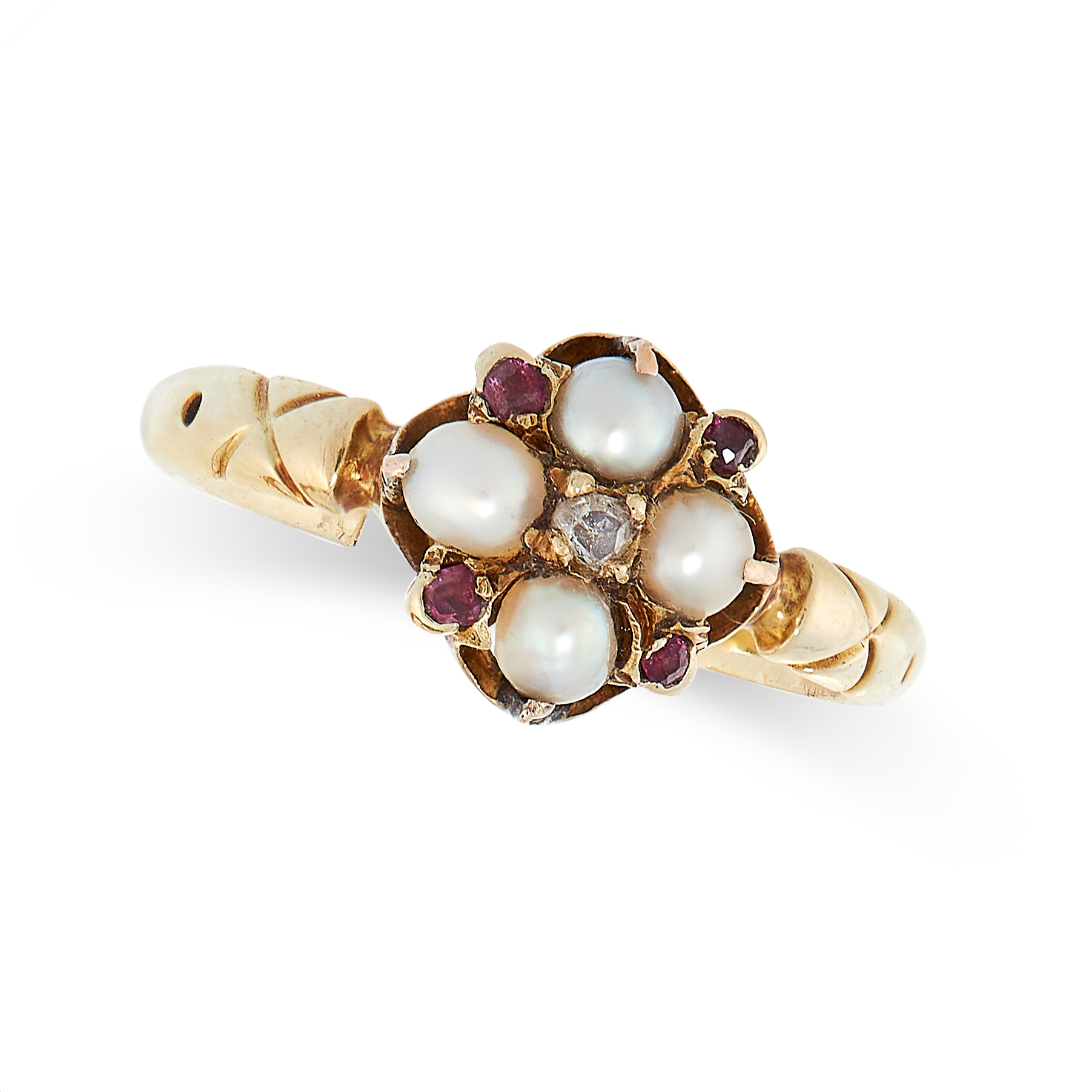 ANTIQUE PEARL, RUBY AND DIAMOND RING in yellow gold, set with a central rose cut diamond in a border