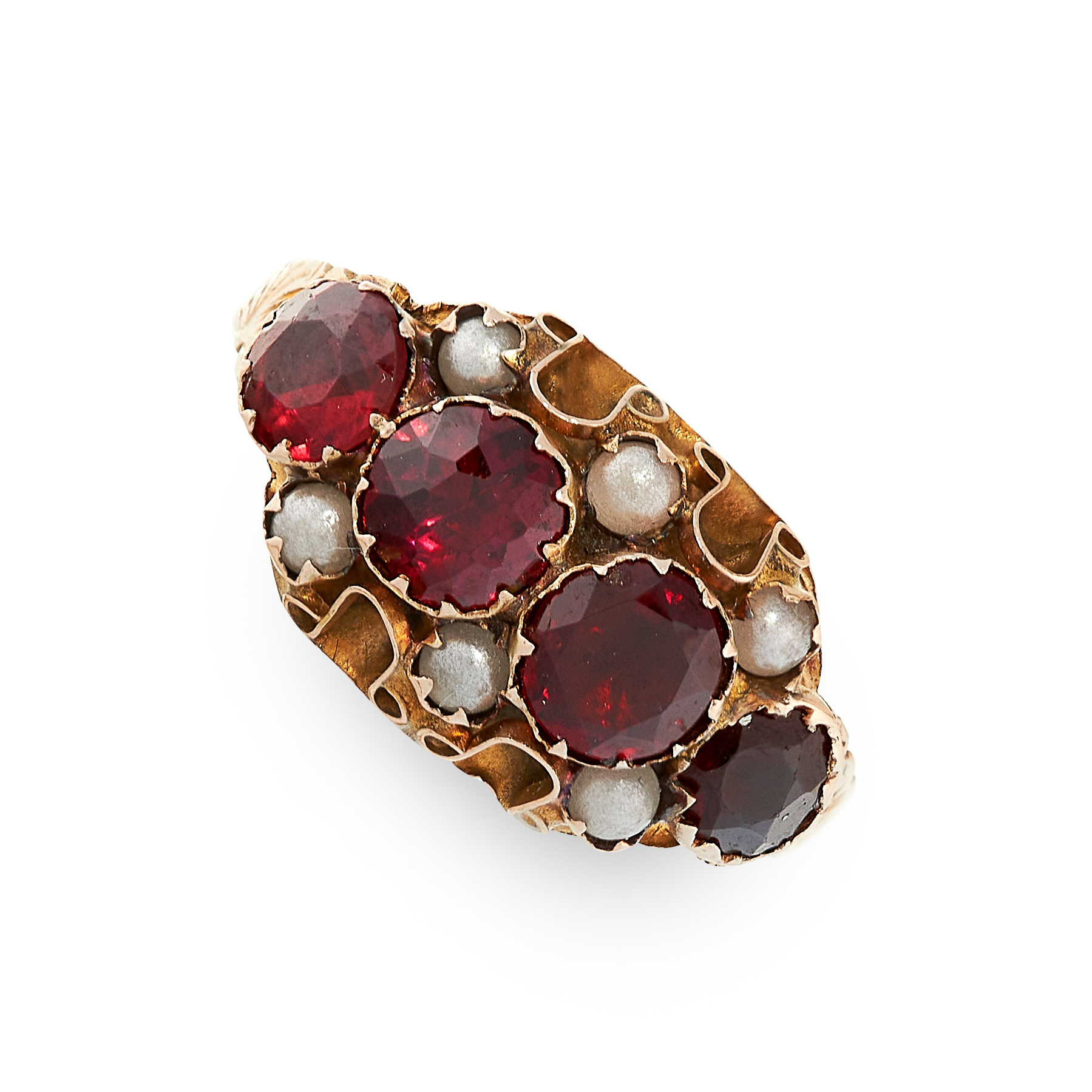 ANTIQUE GARNET AND PEARL RING in yellow gold, comprising of four round cut garnets accented by six
