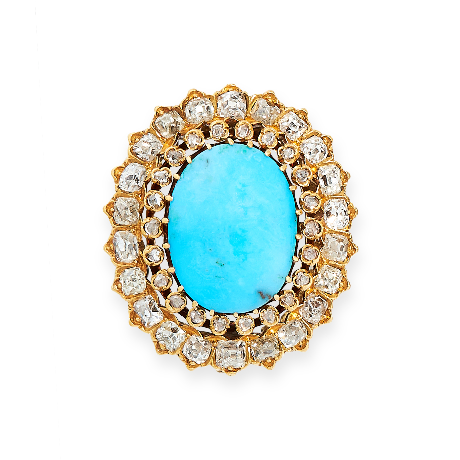 ANTIQUE TURQUOISE AND DIAMOND BROOCH, 19TH CENTURY in yellow gold, set with a cabochon turquoise