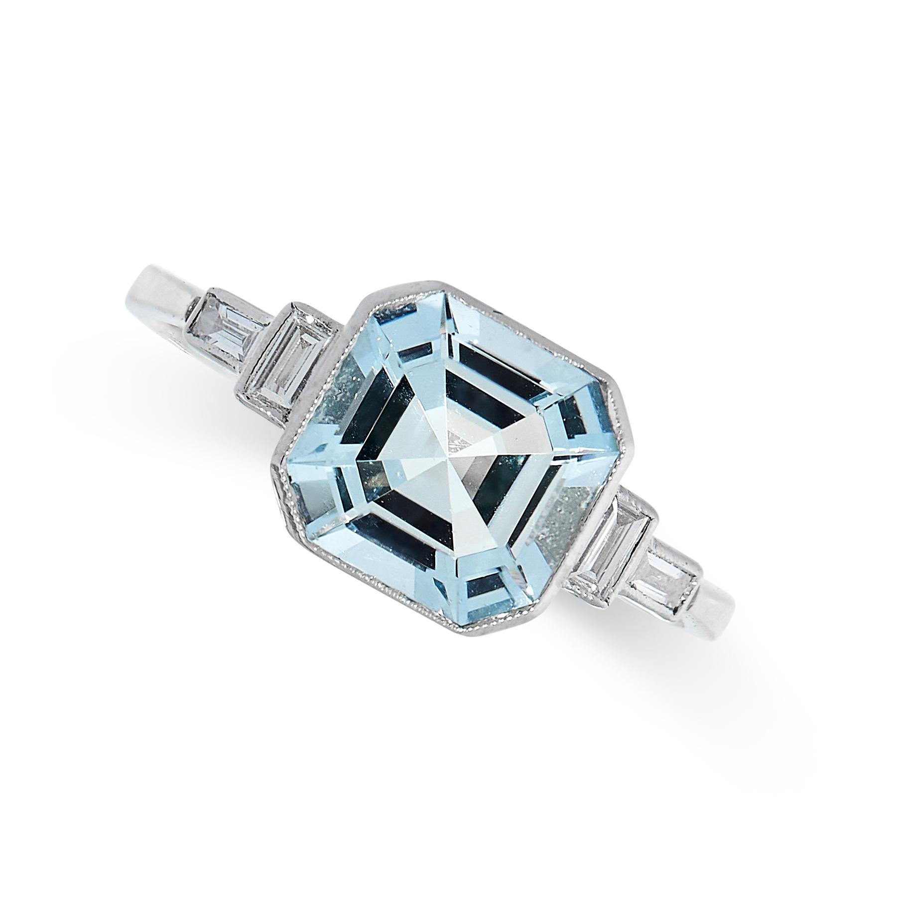 AQUAMARINE AND DIAMOND RING in platinum, set with an octagonal cut aquamarine of 2.23 carats between
