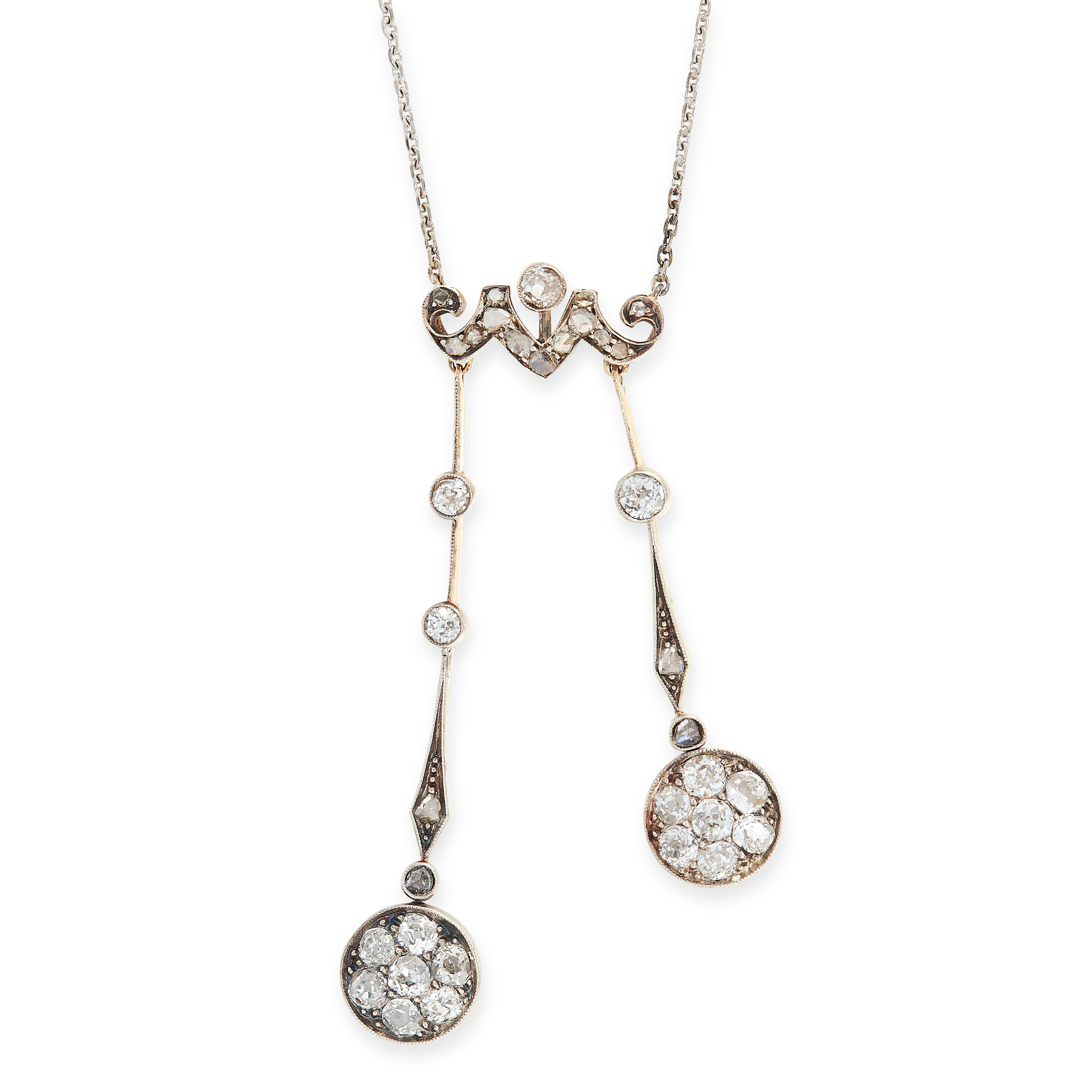ANTIQUE DIAMOND NEGLIGEE PENDANT NECKLACE, CIRCA 1900 comprising of two drops set with old and