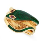 RUBY AND ENAMEL SNAKE RING, MAUBOUSSIN designed as a snake coiled around itself, set with green