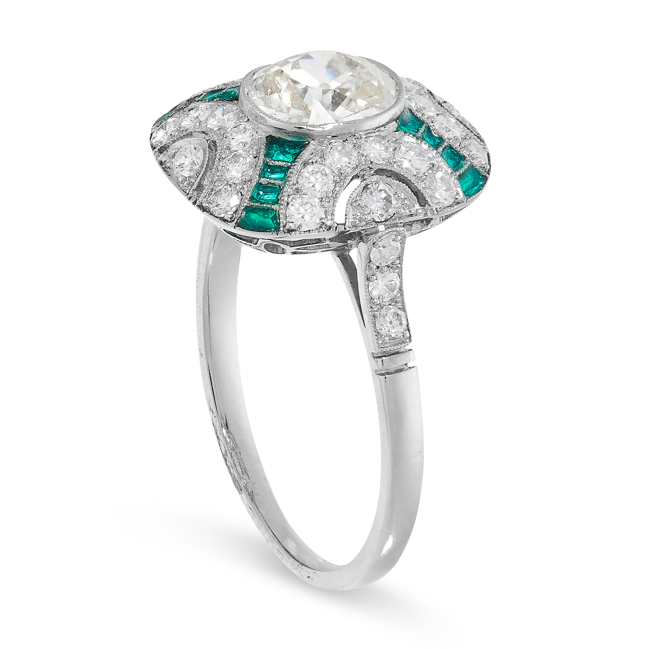 DIAMOND AND PLIQUE A JOUR ENAMEL RING in Art Deco style, comprising of a central oval old cut - Image 2 of 2