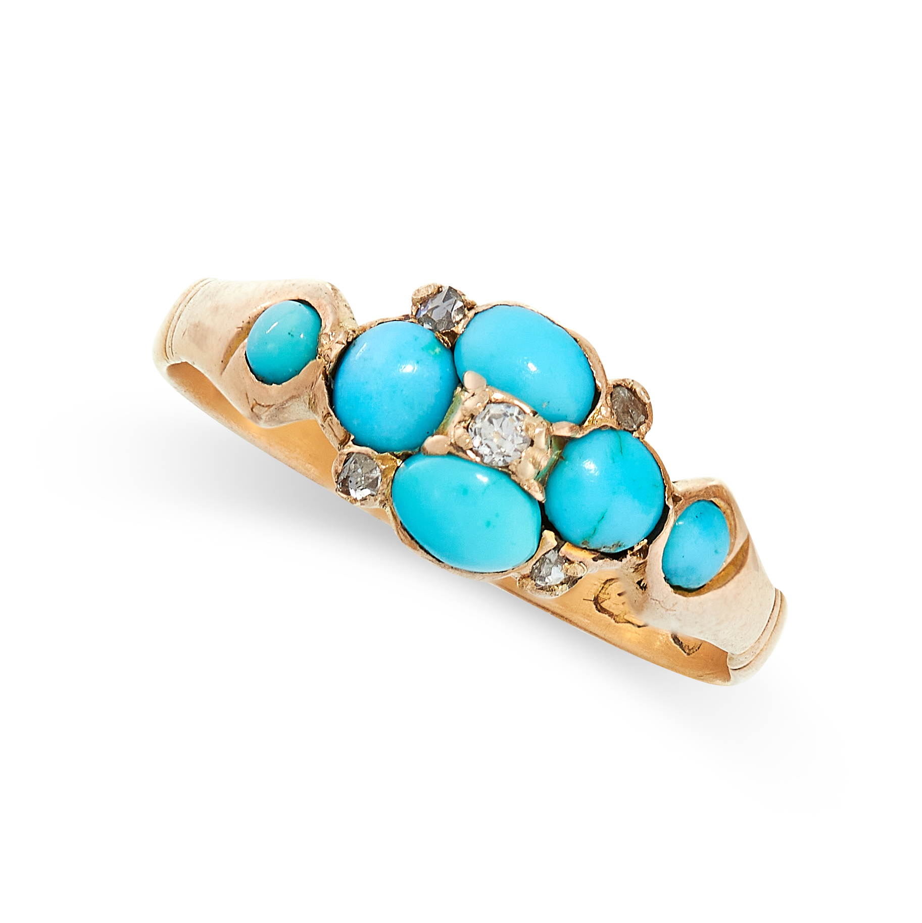 ANTIQUE TURQUOISE AND DIAMOND RING in 22ct yellow gold, in the form of a flower set with cabochon