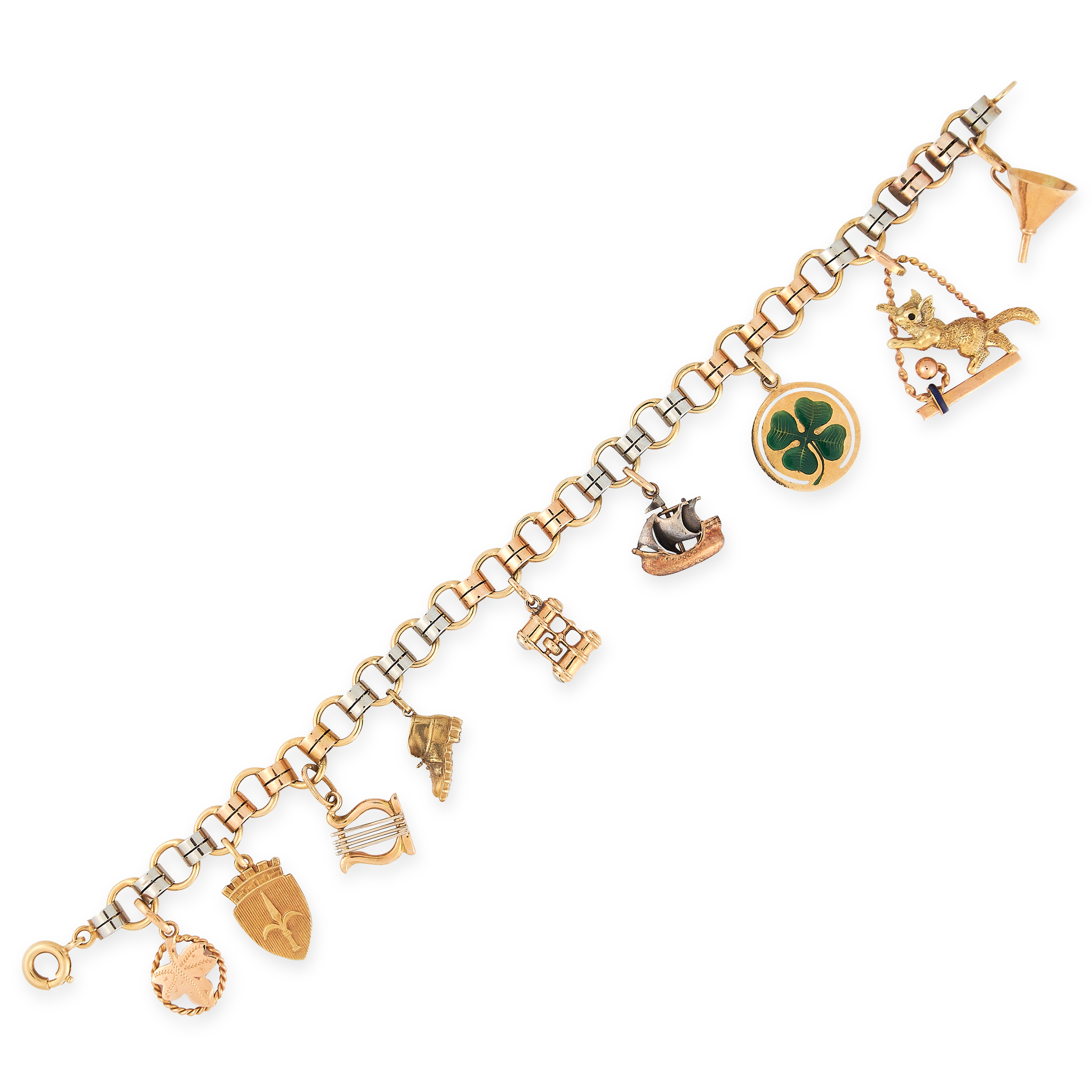 CHARM BRACELET in yellow gold, comprising of a fancy link chain suspending nine charms including a
