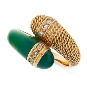 VINTAGE CHRYSOPRASE AND DIAMOND RING, MAUBOUSSIN in 18ct yellow gold, in toi et moi design, set with