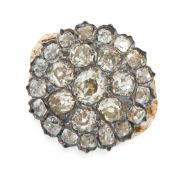 ANTIQUE DIAMOND RING in yellow gold and silver, in cluster form set with old cut diamonds, all